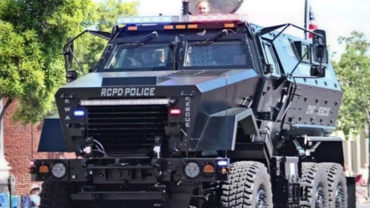 Armored police car.