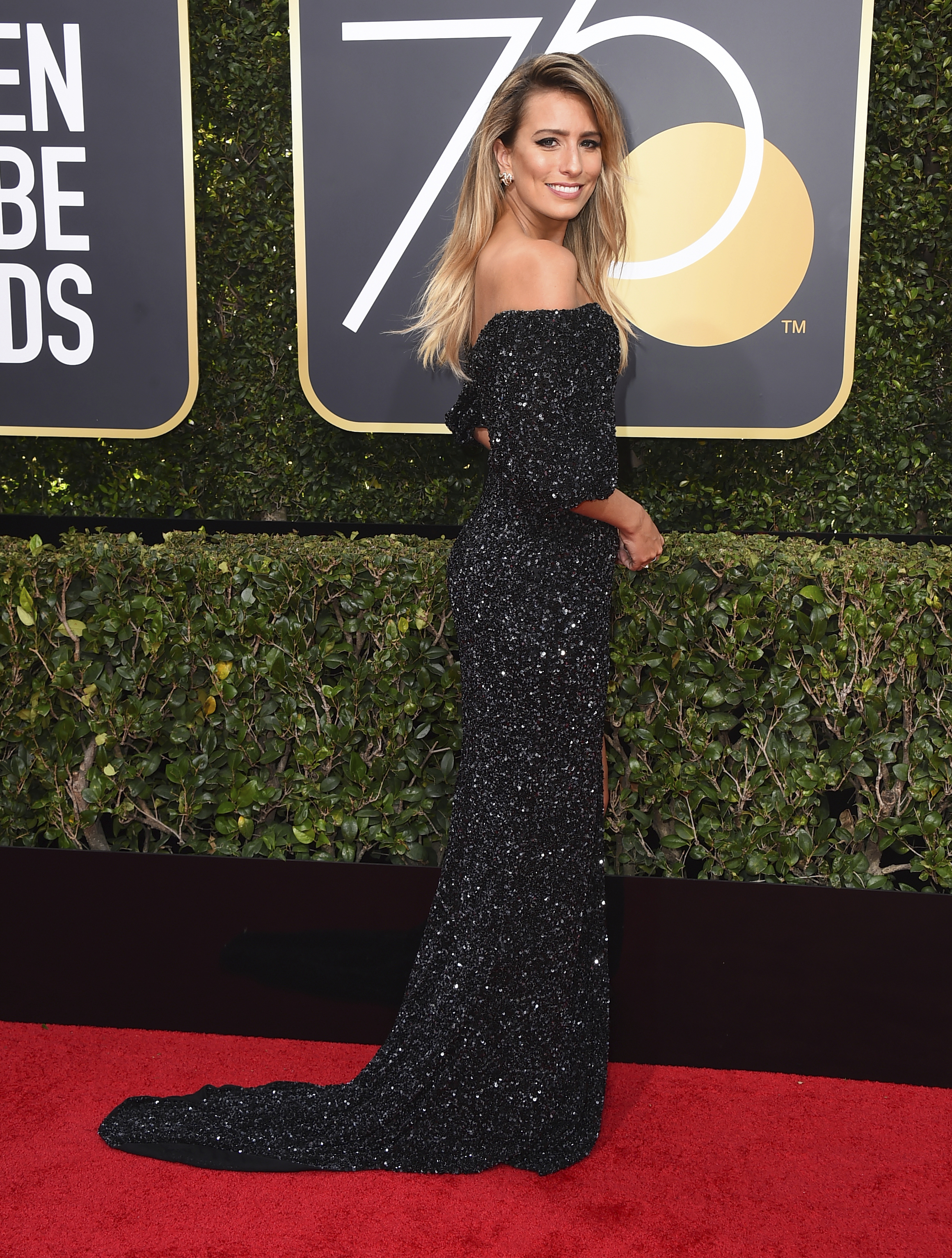 <div class='meta'><div class='origin-logo' data-origin='AP'></div><span class='caption-text' data-credit='Jordan Strauss/Invision/AP'>Renee Bargh arrives at the 75th annual Golden Globe Awards at the Beverly Hilton Hotel on Sunday, Jan. 7, 2018, in Beverly Hills, Calif.</span></div>