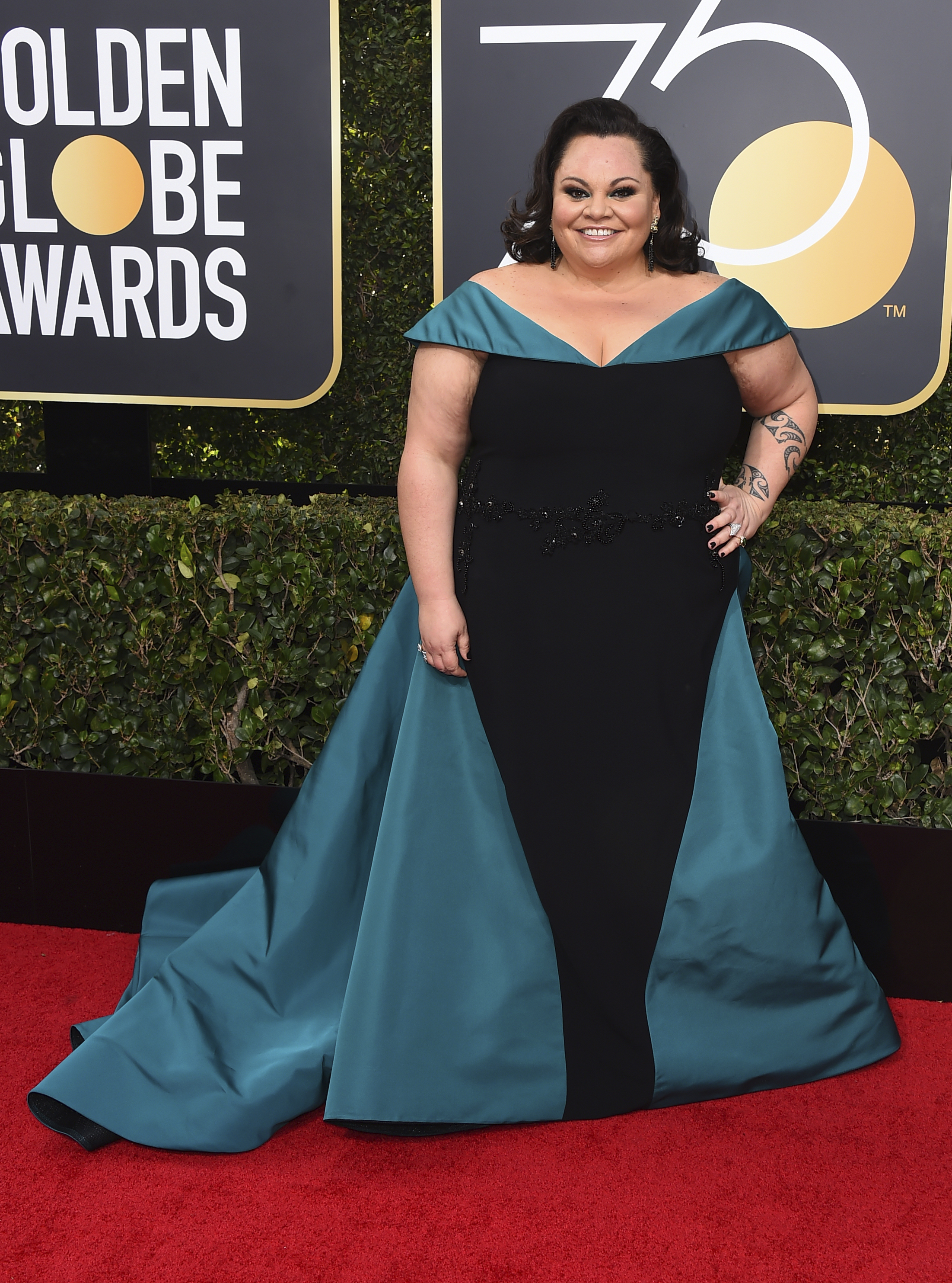 <div class='meta'><div class='origin-logo' data-origin='AP'></div><span class='caption-text' data-credit='Jordan Strauss/Invision/AP'>Keala Settle arrives at the 75th annual Golden Globe Awards at the Beverly Hilton Hotel on Sunday, Jan. 7, 2018, in Beverly Hills, Calif.</span></div>