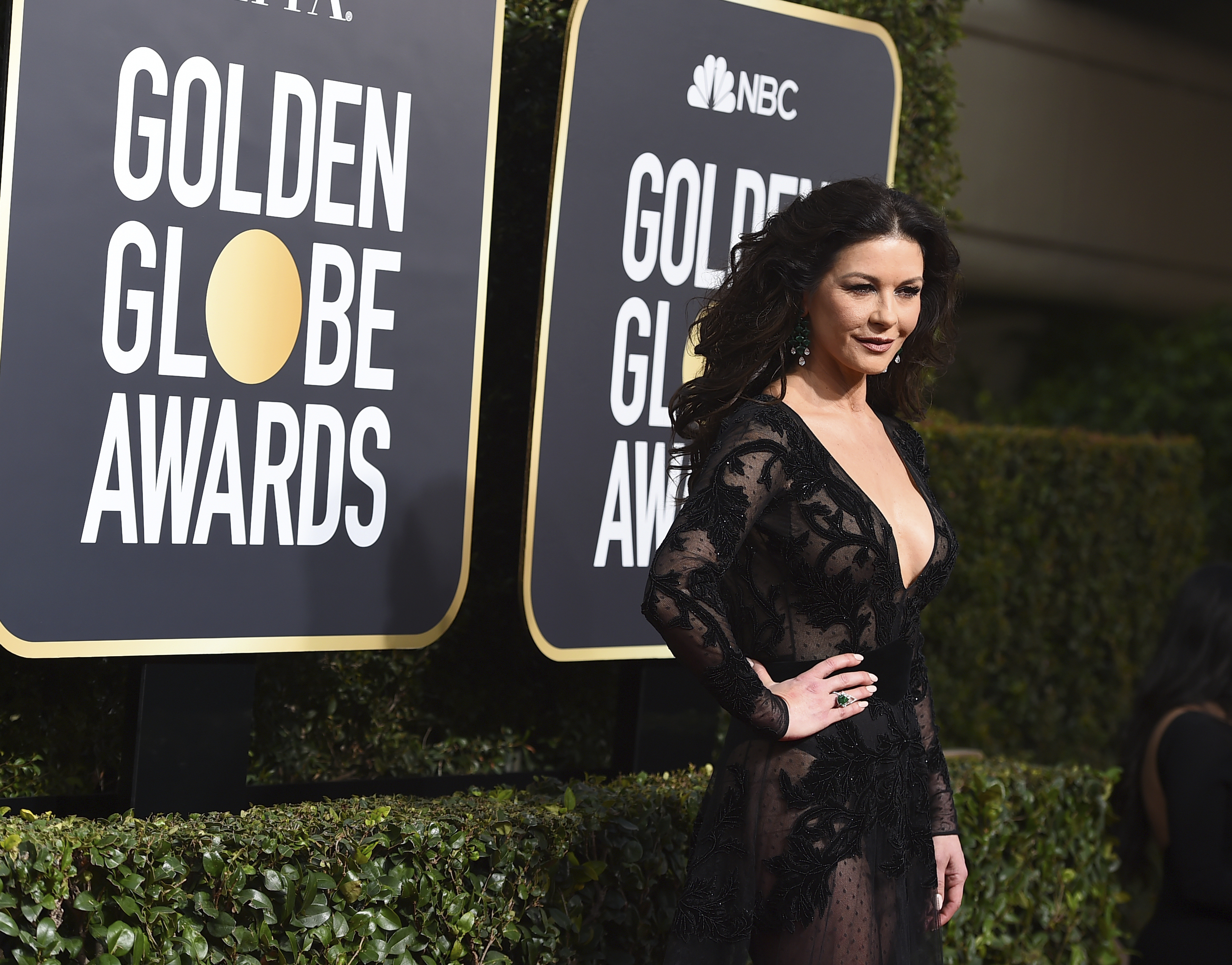 <div class='meta'><div class='origin-logo' data-origin='AP'></div><span class='caption-text' data-credit='Jordan Strauss/Invision/AP'>Catherine Zeta-Jones arrives at the 75th annual Golden Globe Awards at the Beverly Hilton Hotel on Sunday, Jan. 7, 2018, in Beverly Hills, Calif.</span></div>