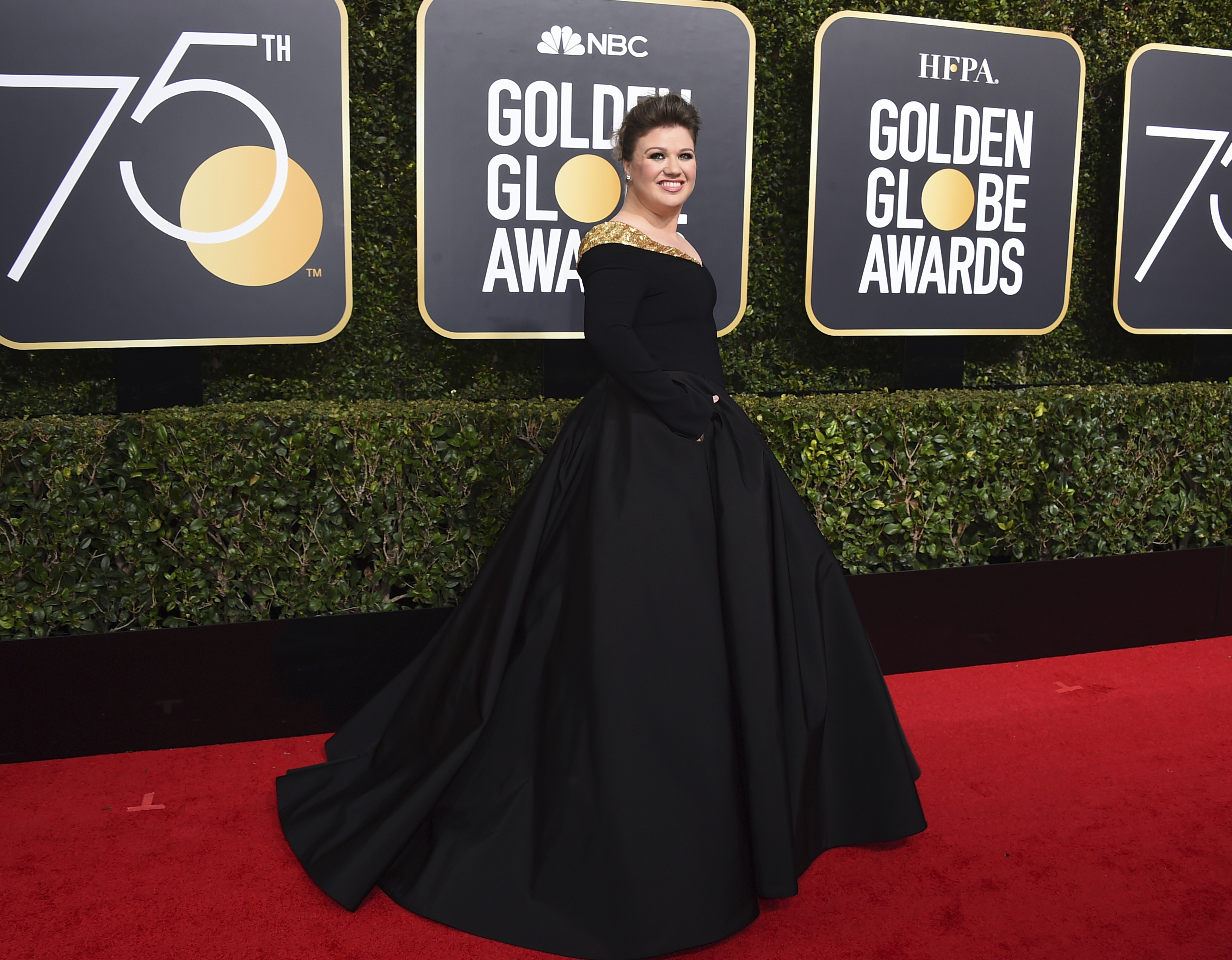 <div class='meta'><div class='origin-logo' data-origin='AP'></div><span class='caption-text' data-credit='Jordan Strauss/Invision/AP'>Kelly Clarkson arrives at the 75th annual Golden Globe Awards at the Beverly Hilton Hotel on Sunday, Jan. 7, 2018, in Beverly Hills, Calif.</span></div>