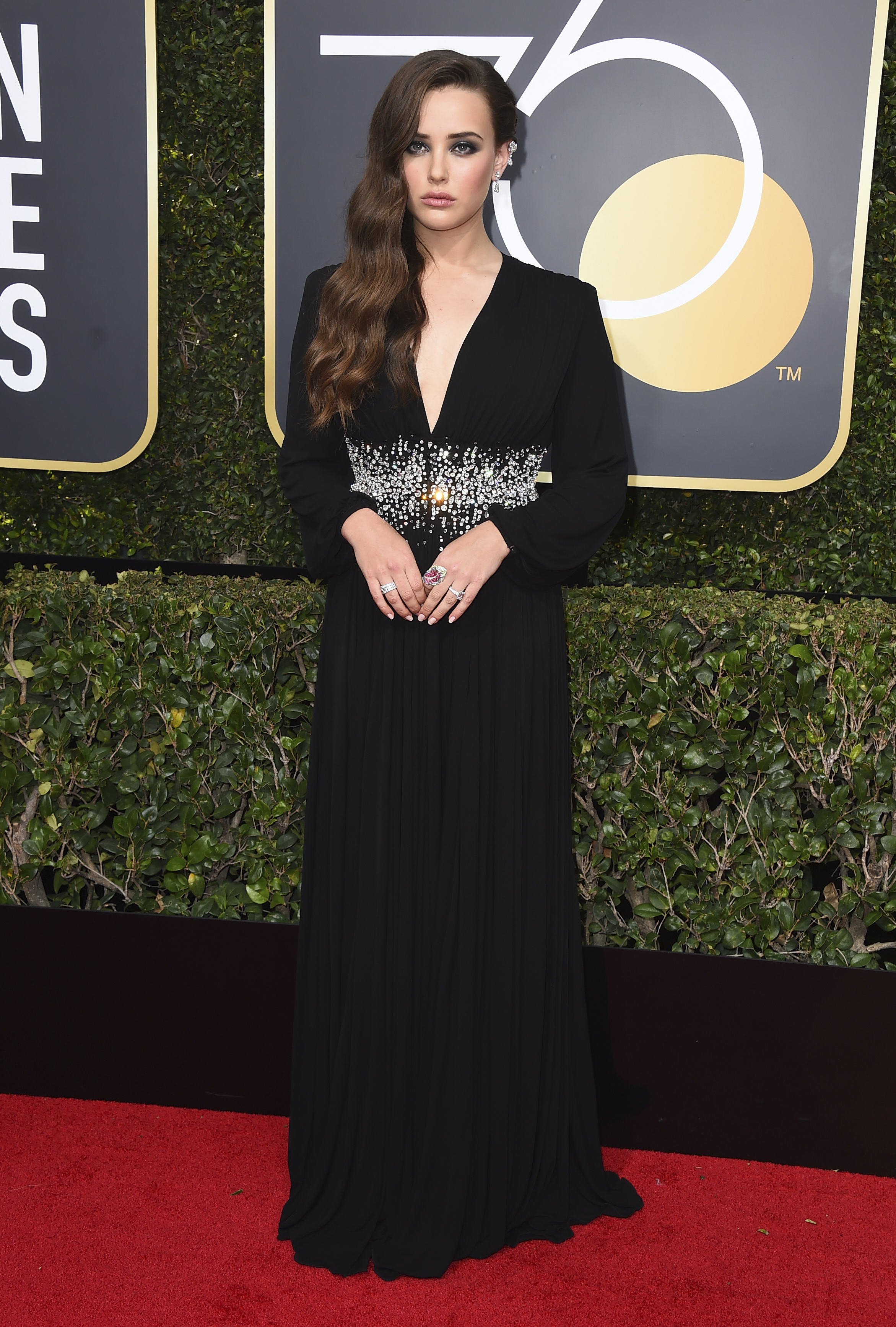 <div class='meta'><div class='origin-logo' data-origin='AP'></div><span class='caption-text' data-credit='Jordan Strauss/Invision/AP'>Katherine Langford arrives at the 75th annual Golden Globe Awards at the Beverly Hilton Hotel on Sunday, Jan. 7, 2018, in Beverly Hills, Calif.</span></div>