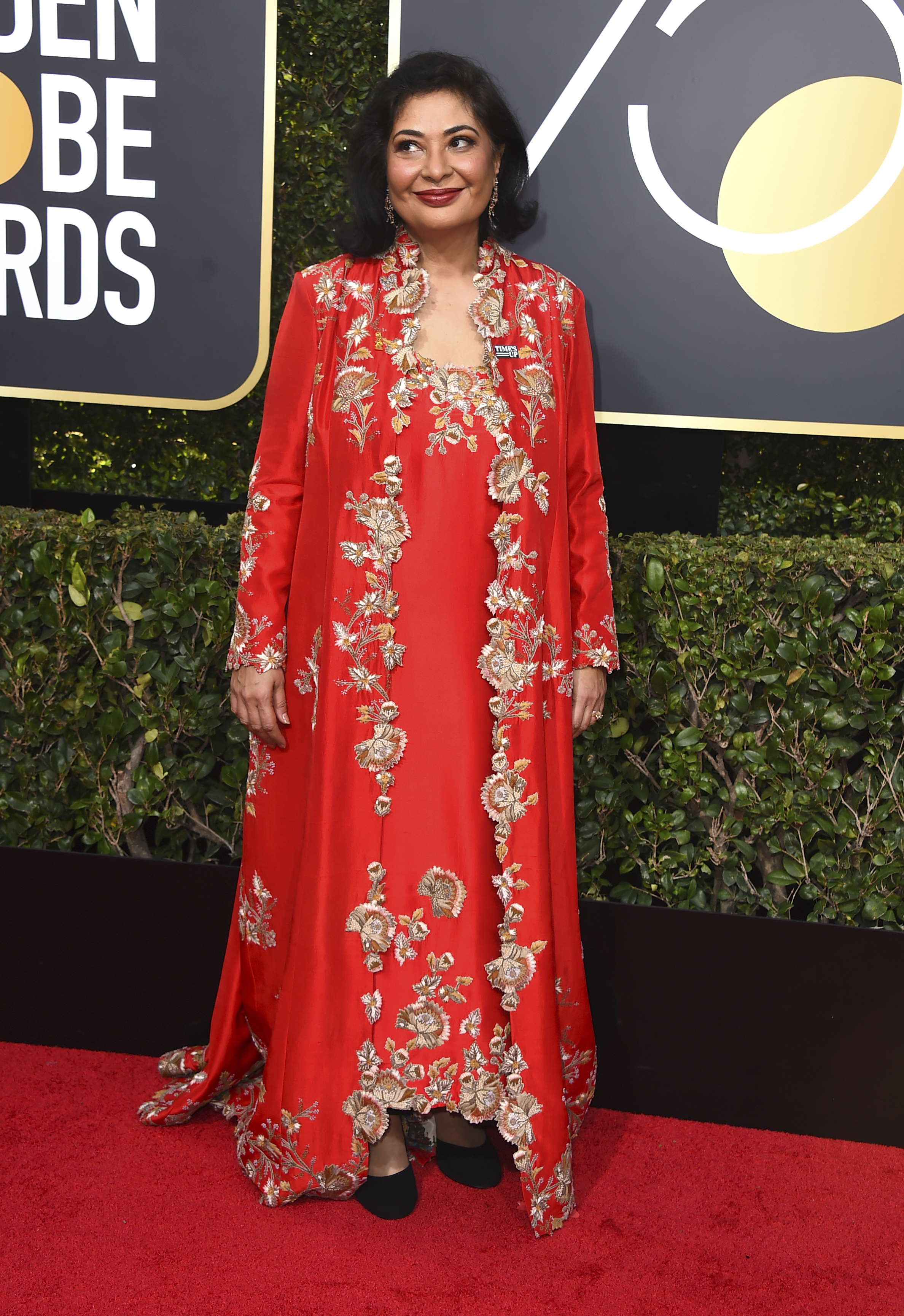 <div class='meta'><div class='origin-logo' data-origin='AP'></div><span class='caption-text' data-credit='Jordan Strauss/Invision/AP'>HFPA President Meher Tatna arrives at the 75th annual Golden Globe Awards at the Beverly Hilton Hotel on Sunday, Jan. 7, 2018, in Beverly Hills, Calif.</span></div>