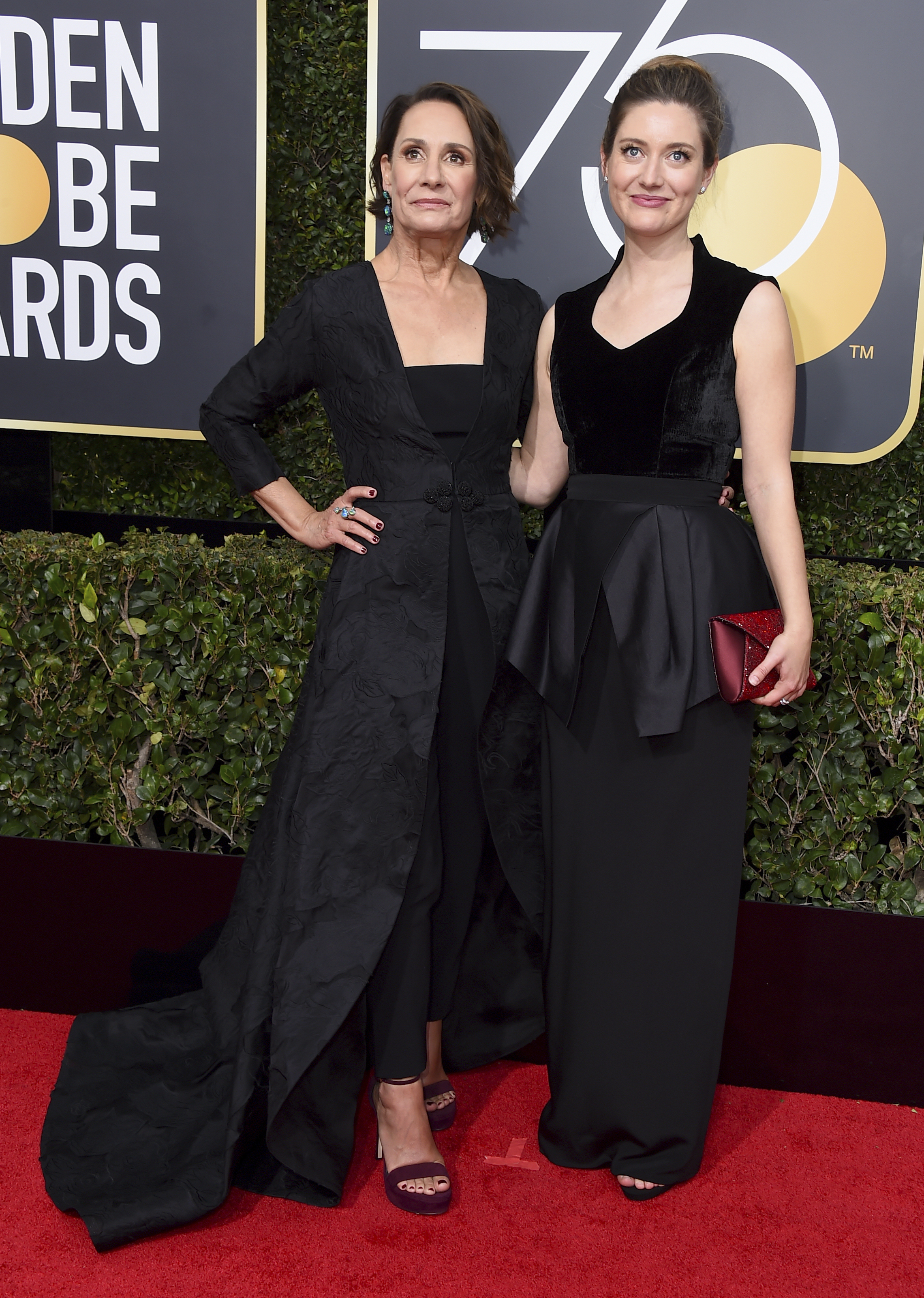 <div class='meta'><div class='origin-logo' data-origin='AP'></div><span class='caption-text' data-credit='Jordan Strauss/Invision/AP'>Laurie Metcalf, left, and her daughter Zoe Perry arrive at the 75th annual Golden Globe Awards at the Beverly Hilton Hotel on Sunday, Jan. 7, 2018, in Beverly Hills, Calif.</span></div>