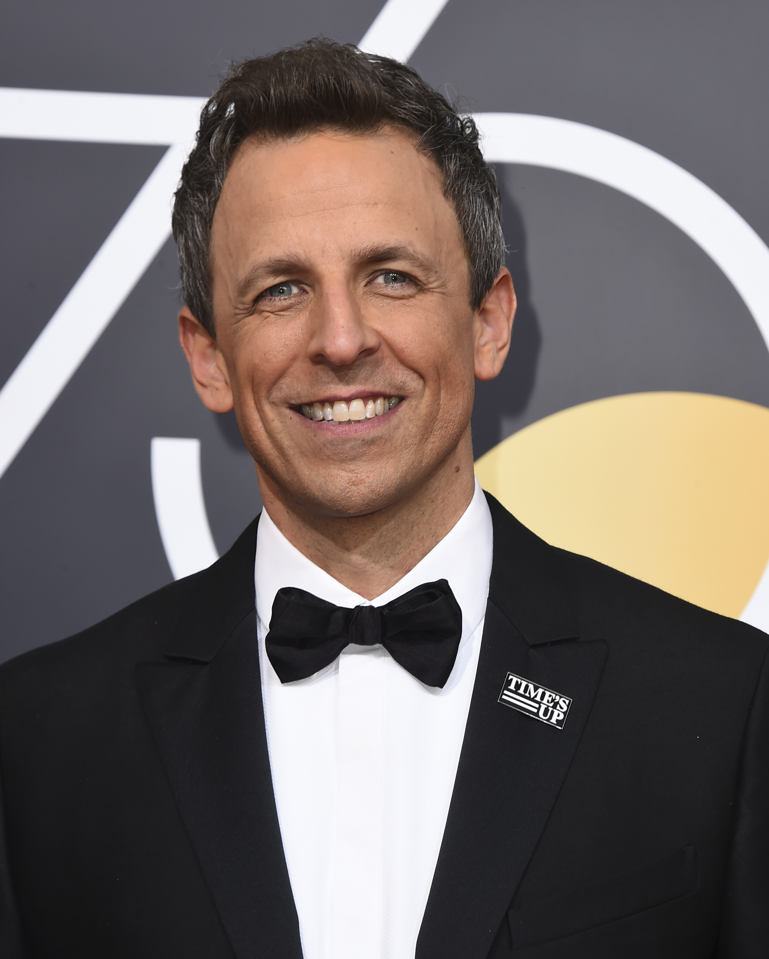 <div class='meta'><div class='origin-logo' data-origin='AP'></div><span class='caption-text' data-credit='Jordan Strauss/Invision/AP'>Seth Meyers arrives at the 75th annual Golden Globe Awards at the Beverly Hilton Hotel on Sunday, Jan. 7, 2018, in Beverly Hills, Calif.</span></div>