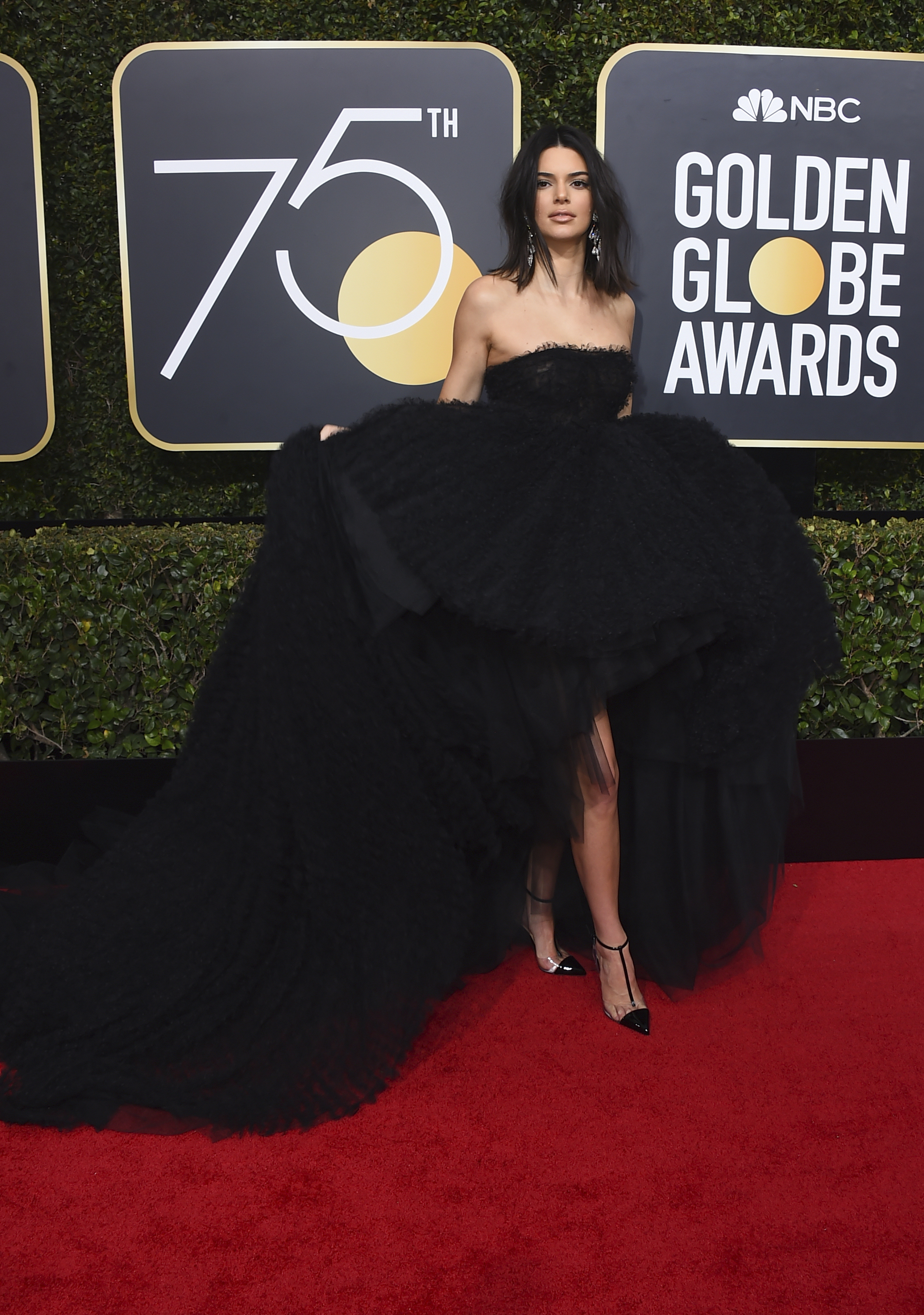 <div class='meta'><div class='origin-logo' data-origin='AP'></div><span class='caption-text' data-credit='Jordan Strauss/Invision/AP'>Kendall Jenner arrives at the 75th annual Golden Globe Awards at the Beverly Hilton Hotel on Sunday, Jan. 7, 2018, in Beverly Hills, Calif.</span></div>