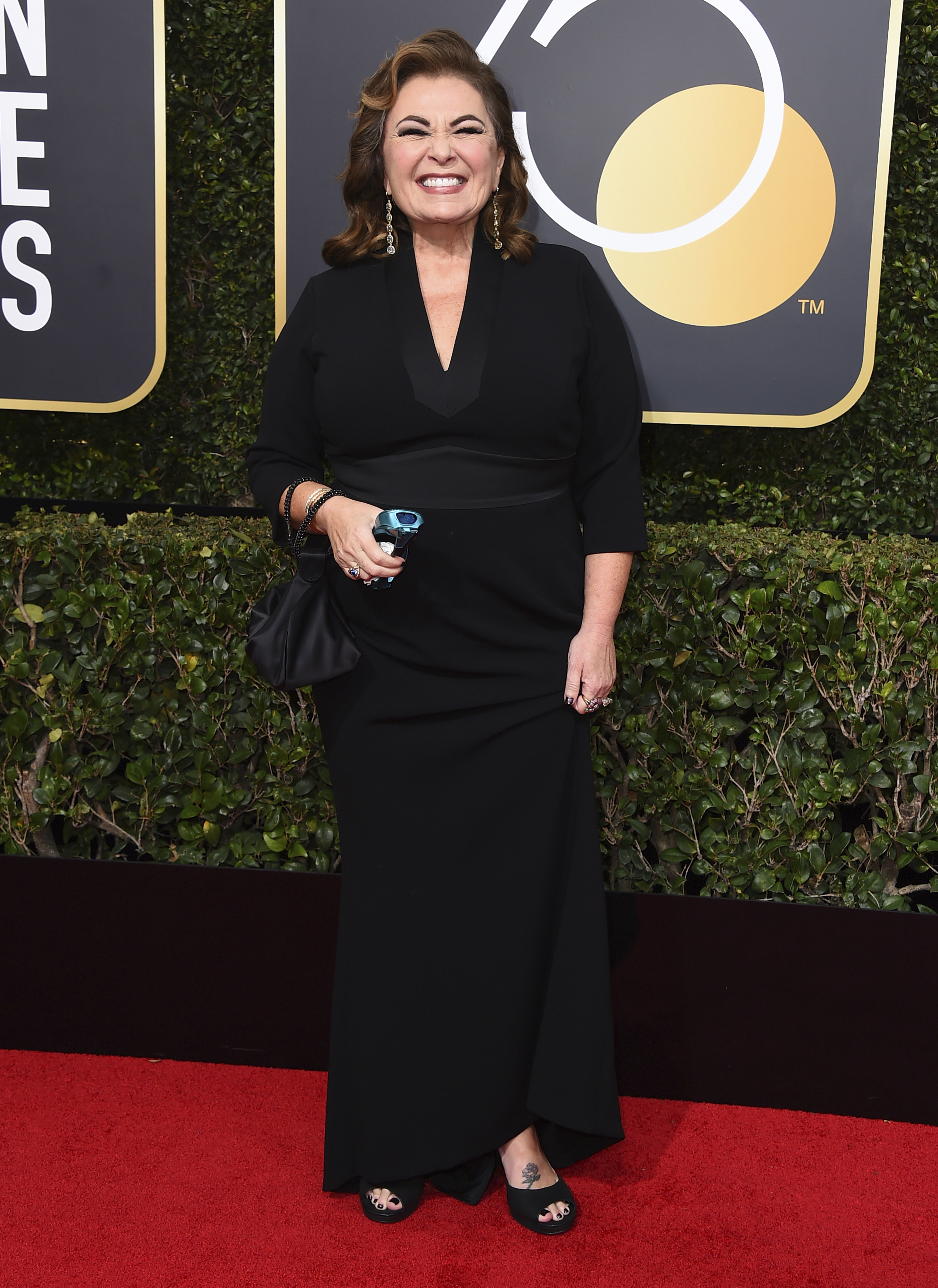 <div class='meta'><div class='origin-logo' data-origin='AP'></div><span class='caption-text' data-credit='Jordan Strauss/Invision/AP'>Roseanne Barr arrives at the 75th annual Golden Globe Awards at the Beverly Hilton Hotel on Sunday, Jan. 7, 2018, in Beverly Hills, Calif.</span></div>