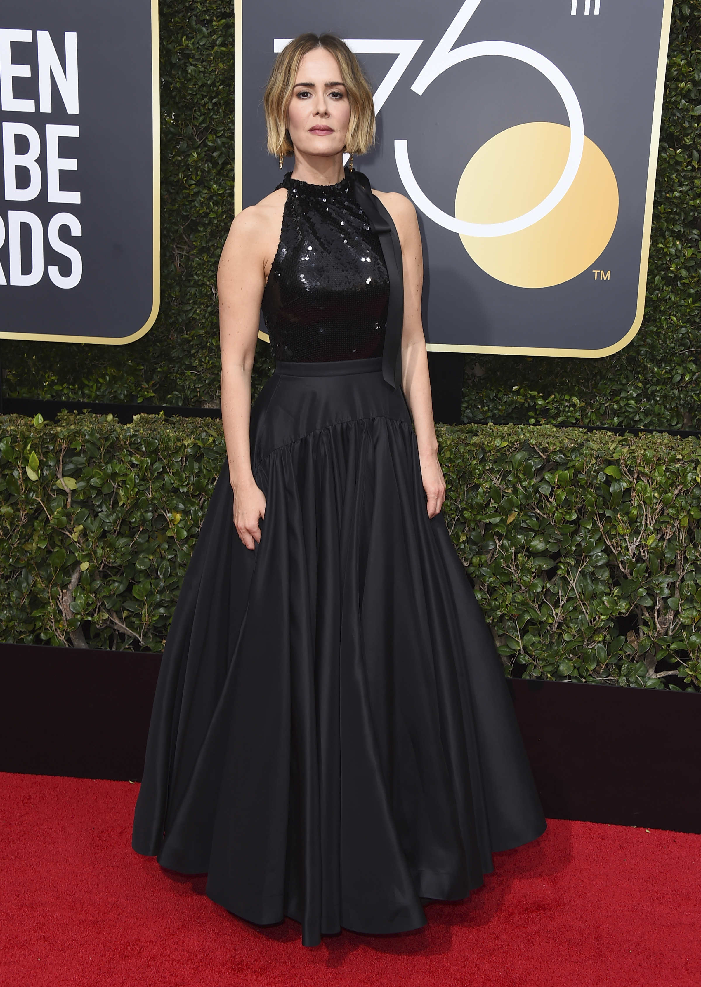 <div class='meta'><div class='origin-logo' data-origin='AP'></div><span class='caption-text' data-credit='Jordan Strauss/Invision/AP'>Sarah Paulson arrives at the 75th annual Golden Globe Awards at the Beverly Hilton Hotel on Sunday, Jan. 7, 2018, in Beverly Hills, Calif.</span></div>