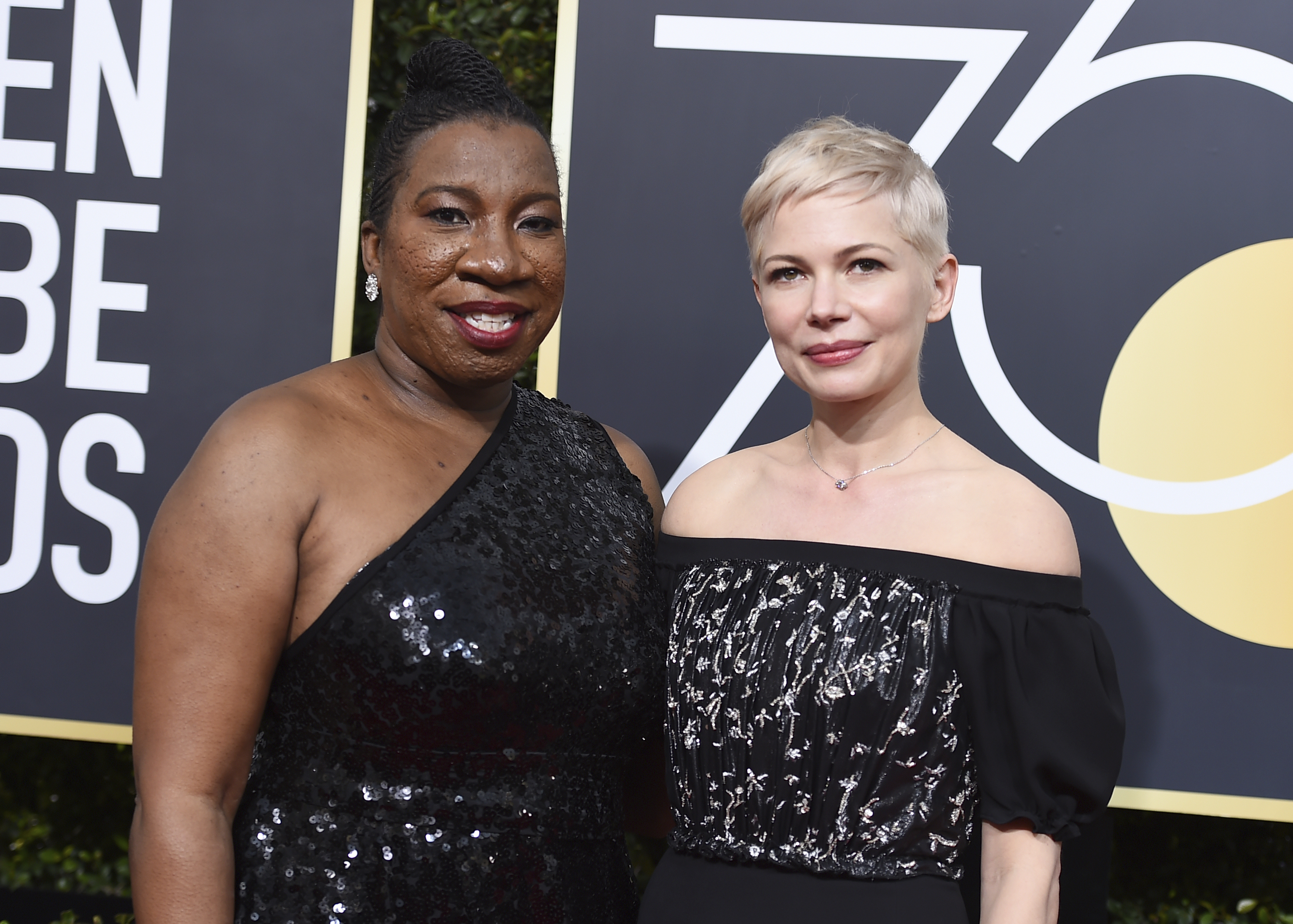 <div class='meta'><div class='origin-logo' data-origin='AP'></div><span class='caption-text' data-credit='Jordan Strauss/Invision/AP'>Tarana Burke, left, and Michelle Williams arrive at the 75th annual Golden Globe Awards at the Beverly Hilton Hotel on Sunday, Jan. 7, 2018, in Beverly Hills, Calif.</span></div>