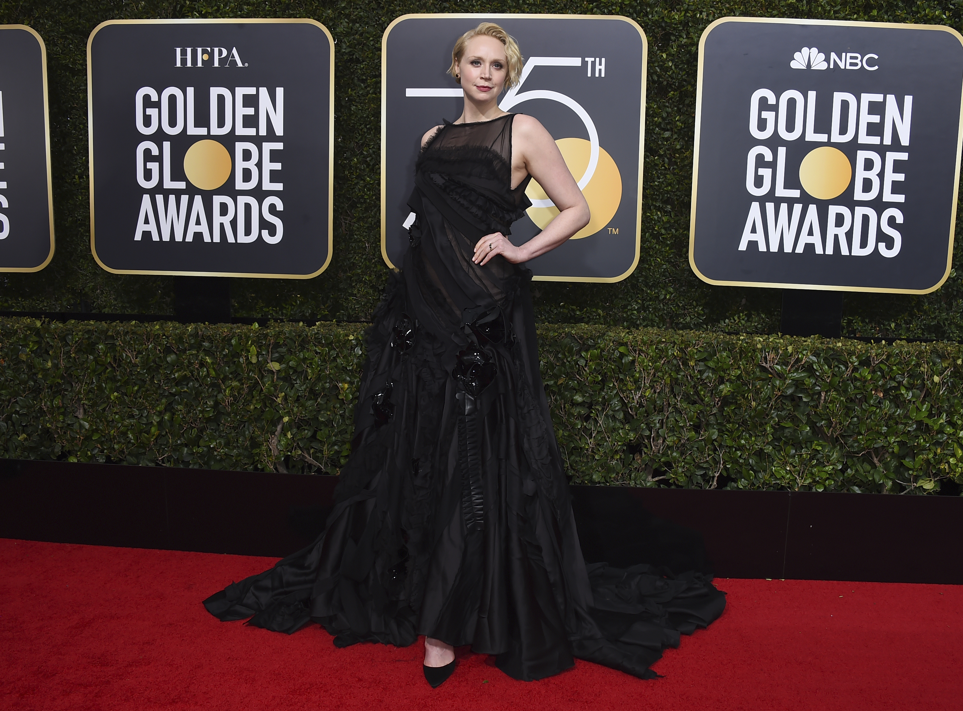 <div class='meta'><div class='origin-logo' data-origin='AP'></div><span class='caption-text' data-credit='Jordan Strauss/Invision/AP'>Gwendoline Christie arrives at the 75th annual Golden Globe Awards at the Beverly Hilton Hotel on Sunday, Jan. 7, 2018, in Beverly Hills, Calif.</span></div>