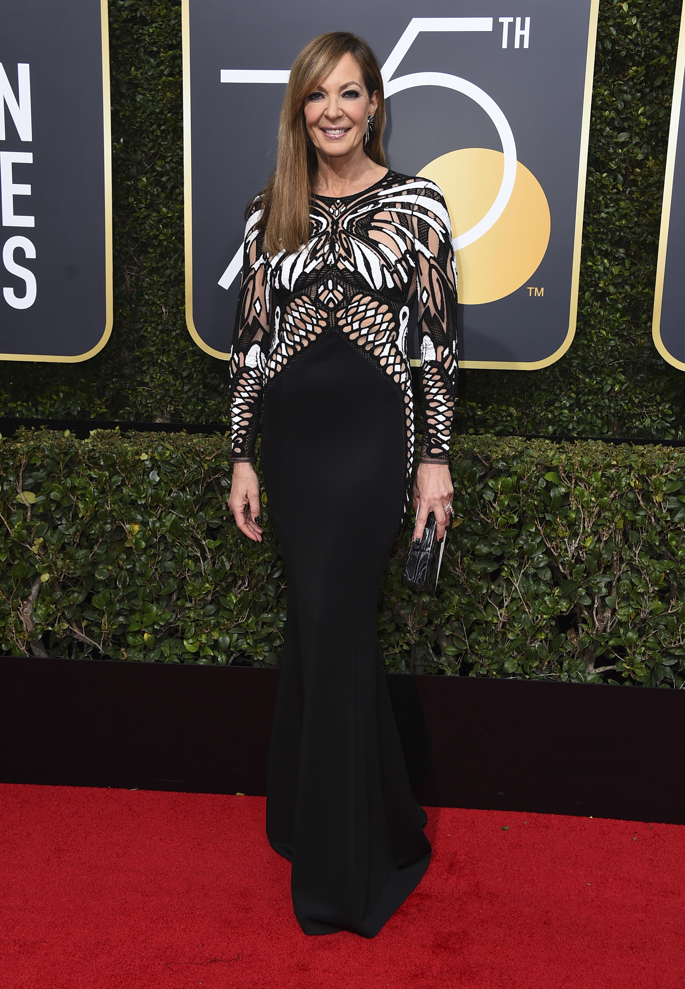 <div class='meta'><div class='origin-logo' data-origin='AP'></div><span class='caption-text' data-credit='Jordan Strauss/Invision/AP'>Allison Janney arrives at the 75th annual Golden Globe Awards at the Beverly Hilton Hotel on Sunday, Jan. 7, 2018, in Beverly Hills, Calif.</span></div>