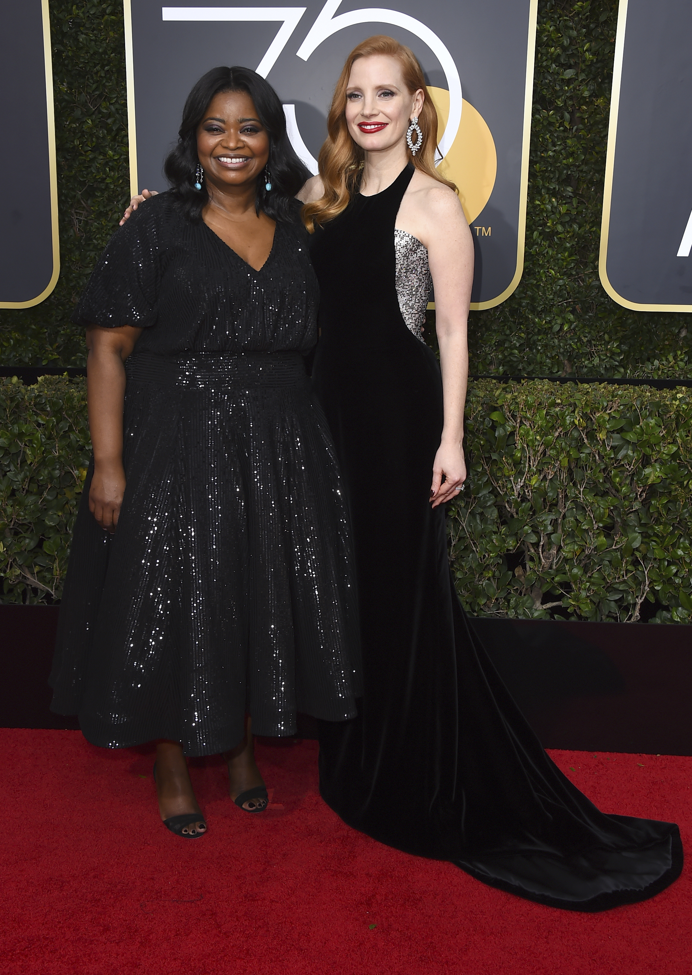 <div class='meta'><div class='origin-logo' data-origin='AP'></div><span class='caption-text' data-credit='Jordan Strauss/Invision/AP'>Octavia Spencer, left, and Jessica Chastain arrive at the 75th annual Golden Globe Awards at the Beverly Hilton Hotel on Sunday, Jan. 7, 2018, in Beverly Hills, Calif.</span></div>