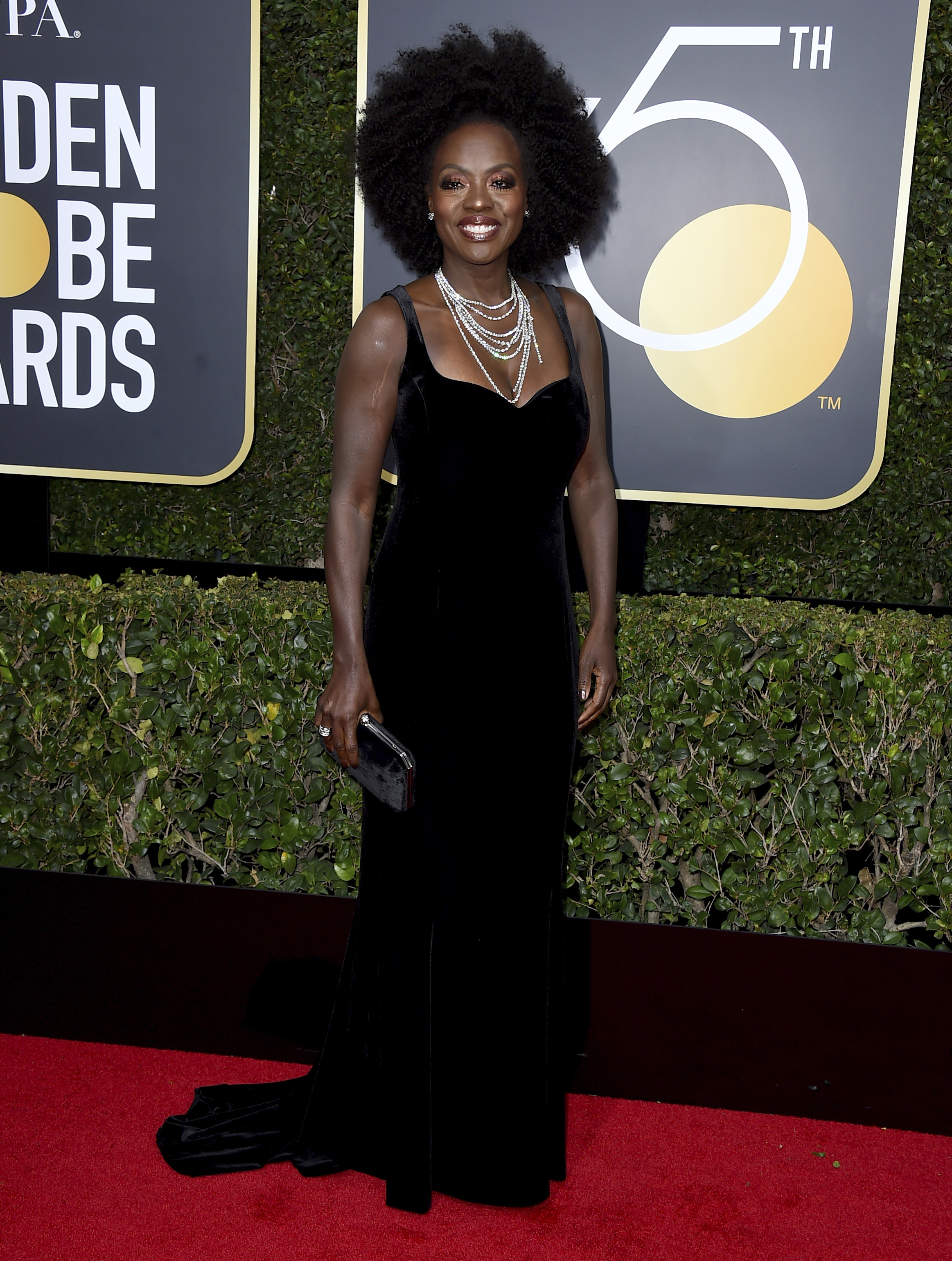 <div class='meta'><div class='origin-logo' data-origin='AP'></div><span class='caption-text' data-credit='Jordan Strauss/Invision/AP'>Viola Davis arrives at the 75th annual Golden Globe Awards at the Beverly Hilton Hotel on Sunday, Jan. 7, 2018, in Beverly Hills, Calif.</span></div>