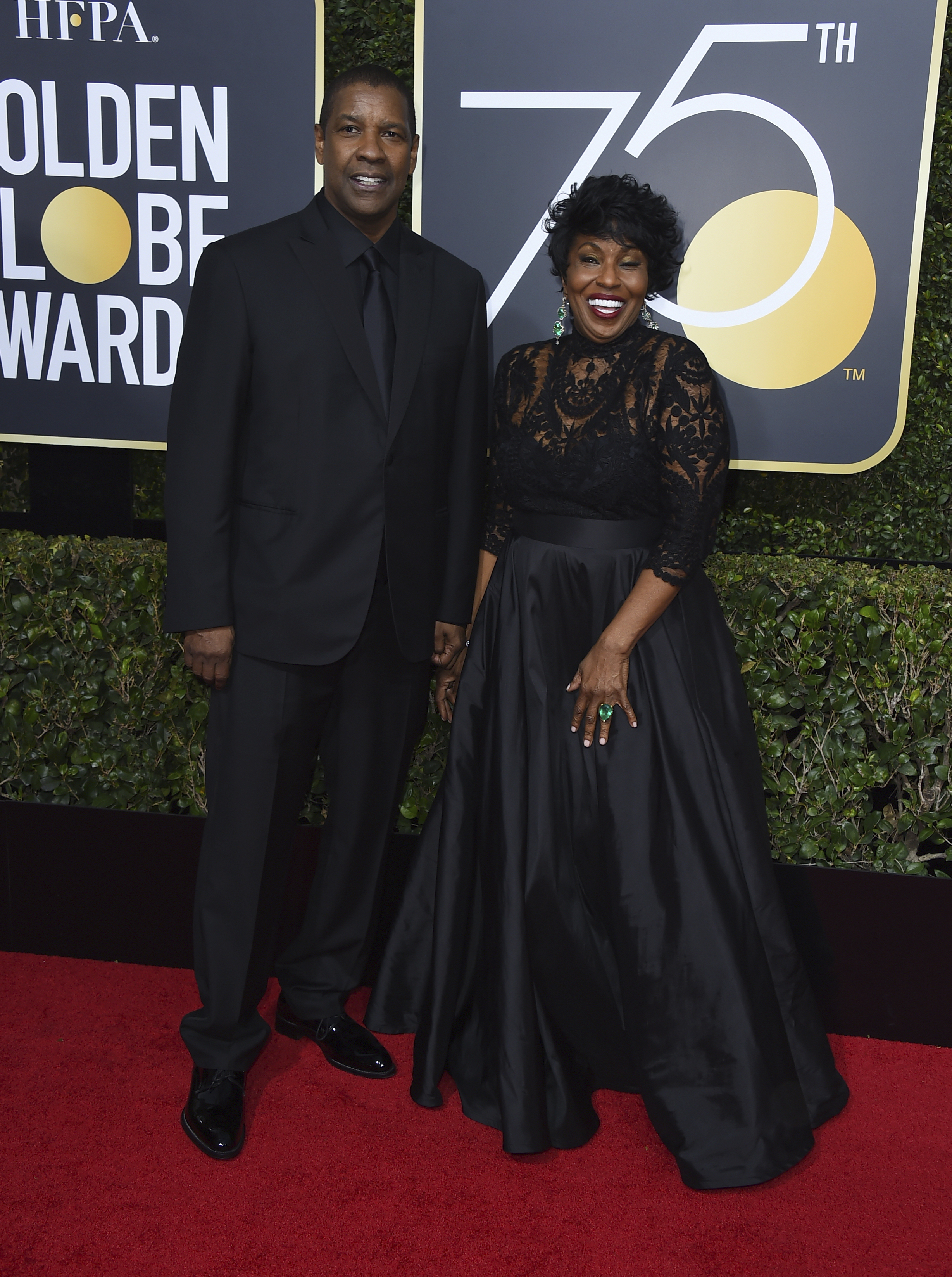 <div class='meta'><div class='origin-logo' data-origin='AP'></div><span class='caption-text' data-credit='Jordan Strauss/Invision/AP'>Denzel Washington, left, and Pauletta Washington arrive at the 75th annual Golden Globe Awards at the Beverly Hilton Hotel on Sunday, Jan. 7, 2018, in Beverly Hills, Calif.</span></div>
