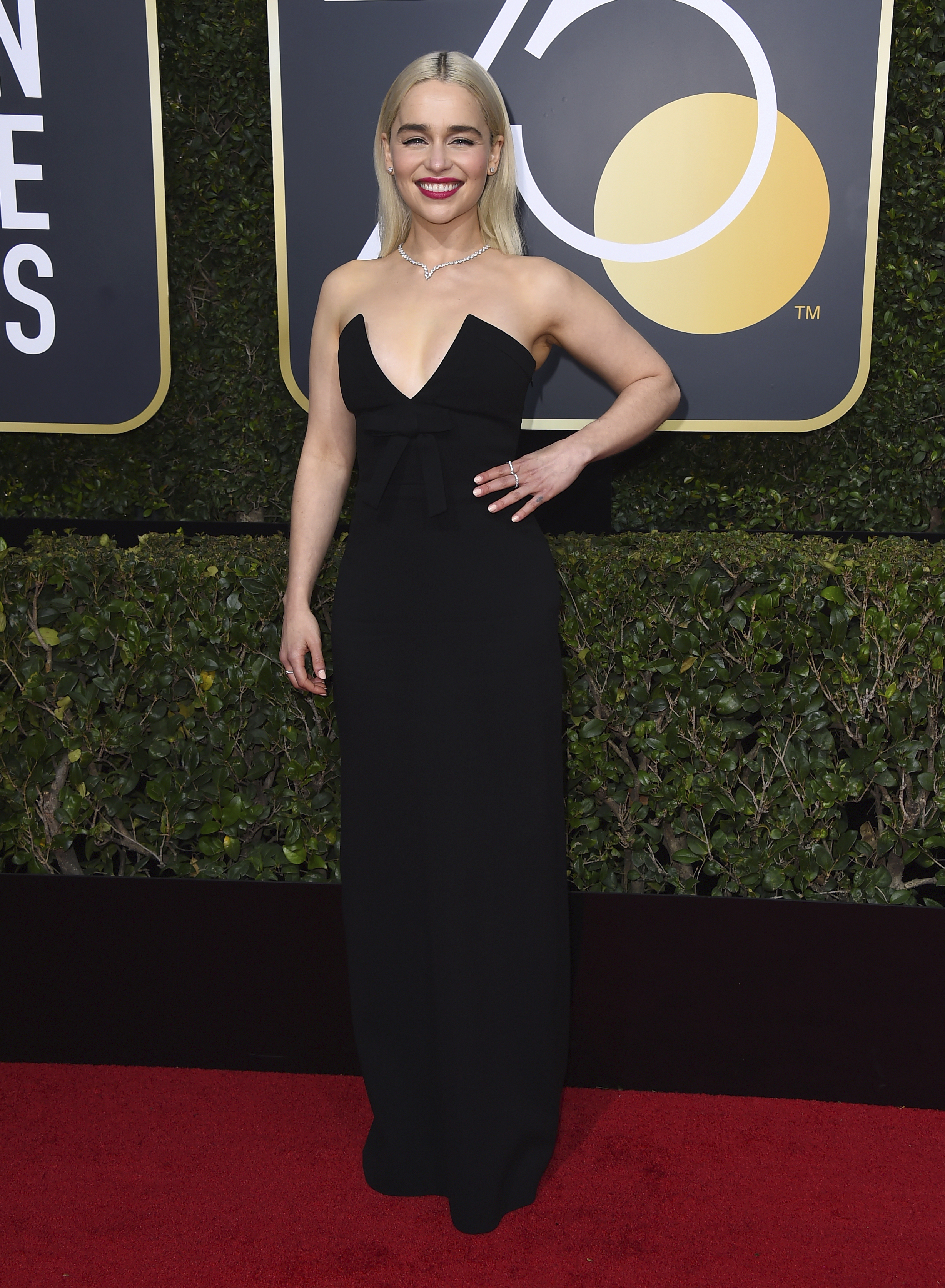 <div class='meta'><div class='origin-logo' data-origin='AP'></div><span class='caption-text' data-credit='Jordan Strauss/Invision/AP'>Emilia Clarke arrives at the 75th annual Golden Globe Awards at the Beverly Hilton Hotel on Sunday, Jan. 7, 2018, in Beverly Hills, Calif.</span></div>