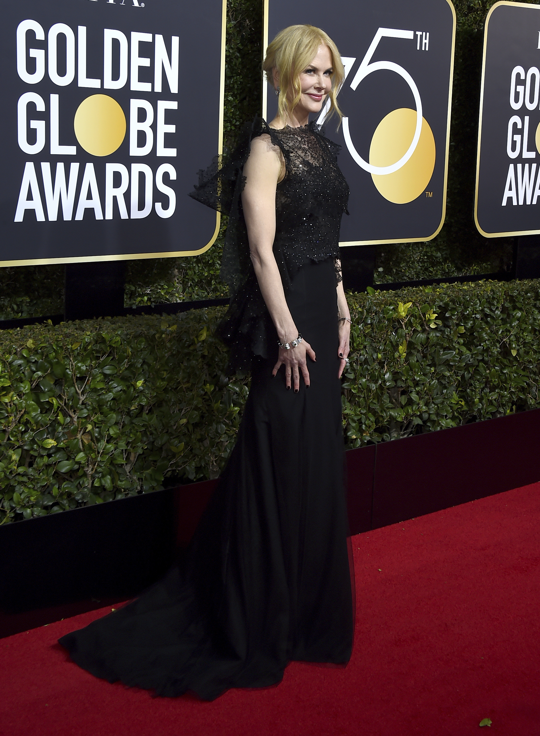 <div class='meta'><div class='origin-logo' data-origin='AP'></div><span class='caption-text' data-credit='Jordan Strauss/Invision/AP'>Nicole Kidman arrives at the 75th annual Golden Globe Awards at the Beverly Hilton Hotel on Sunday, Jan. 7, 2018, in Beverly Hills, Calif.</span></div>