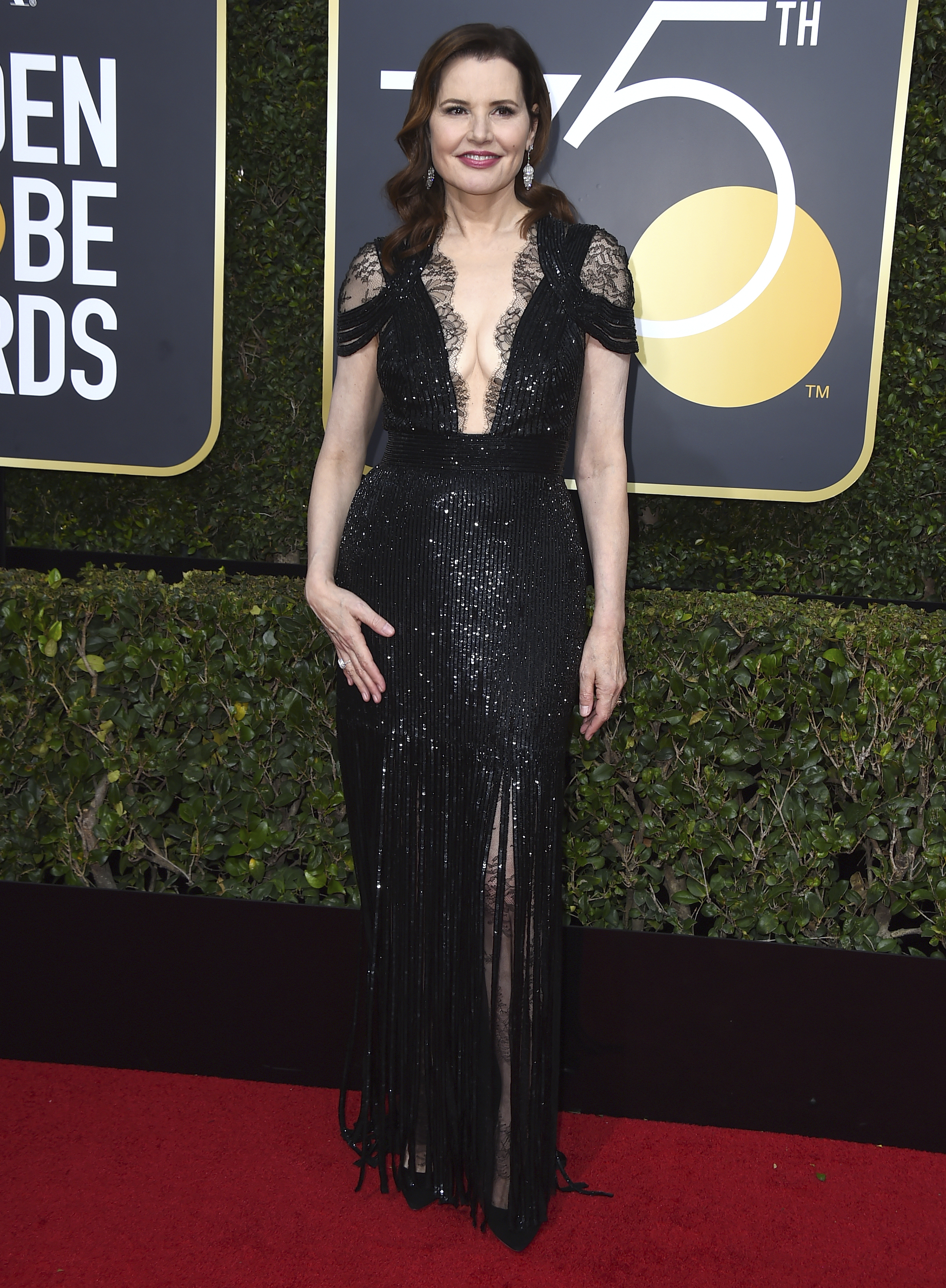 <div class='meta'><div class='origin-logo' data-origin='AP'></div><span class='caption-text' data-credit='Jordan Strauss/Invision/AP'>Geena Davis arrives at the 75th annual Golden Globe Awards at the Beverly Hilton Hotel on Sunday, Jan. 7, 2018, in Beverly Hills, Calif.</span></div>