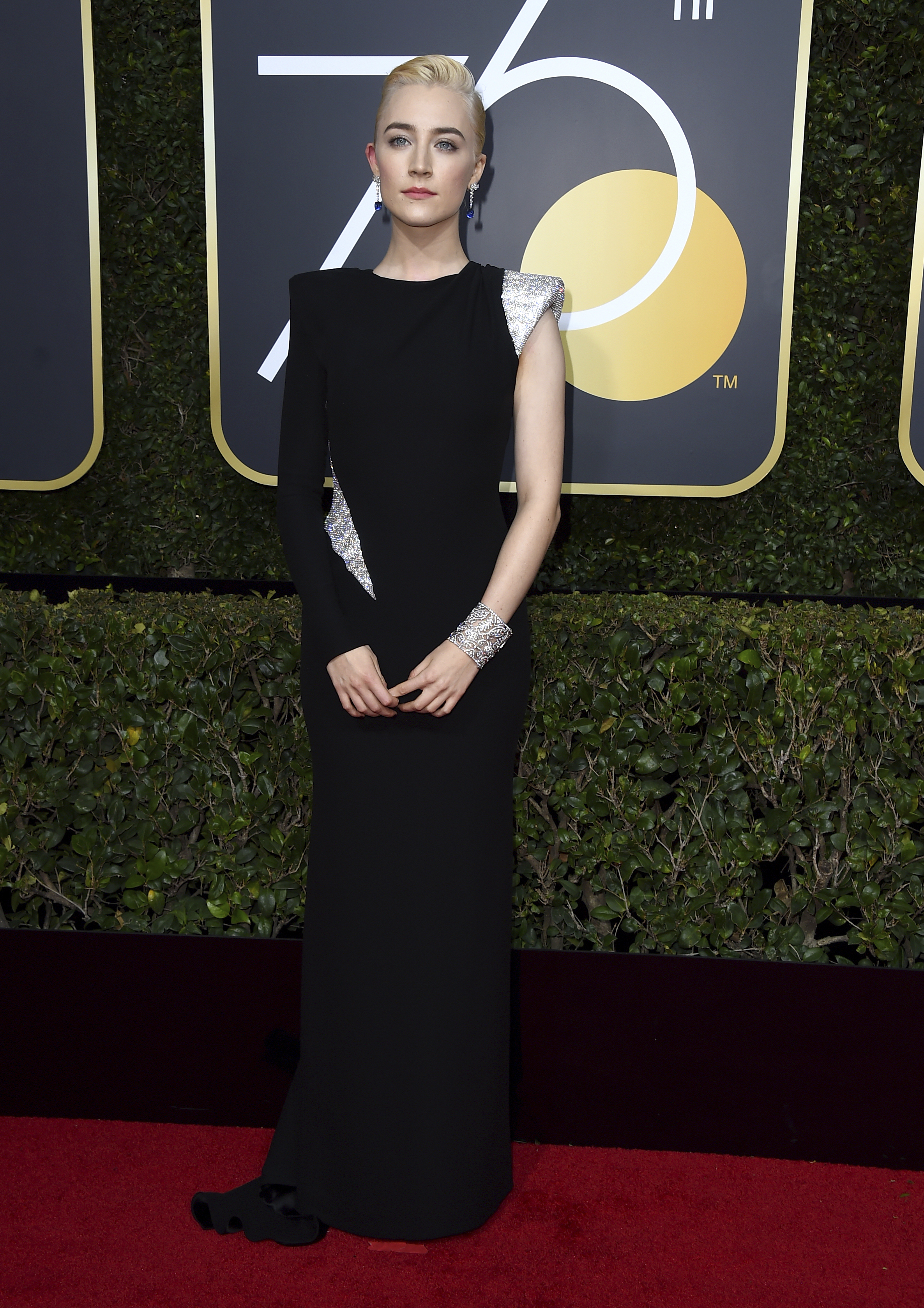 <div class='meta'><div class='origin-logo' data-origin='AP'></div><span class='caption-text' data-credit='Jordan Strauss/Invision/AP'>Saoirse Ronan arrives at the 75th annual Golden Globe Awards at the Beverly Hilton Hotel on Sunday, Jan. 7, 2018, in Beverly Hills, Calif.</span></div>