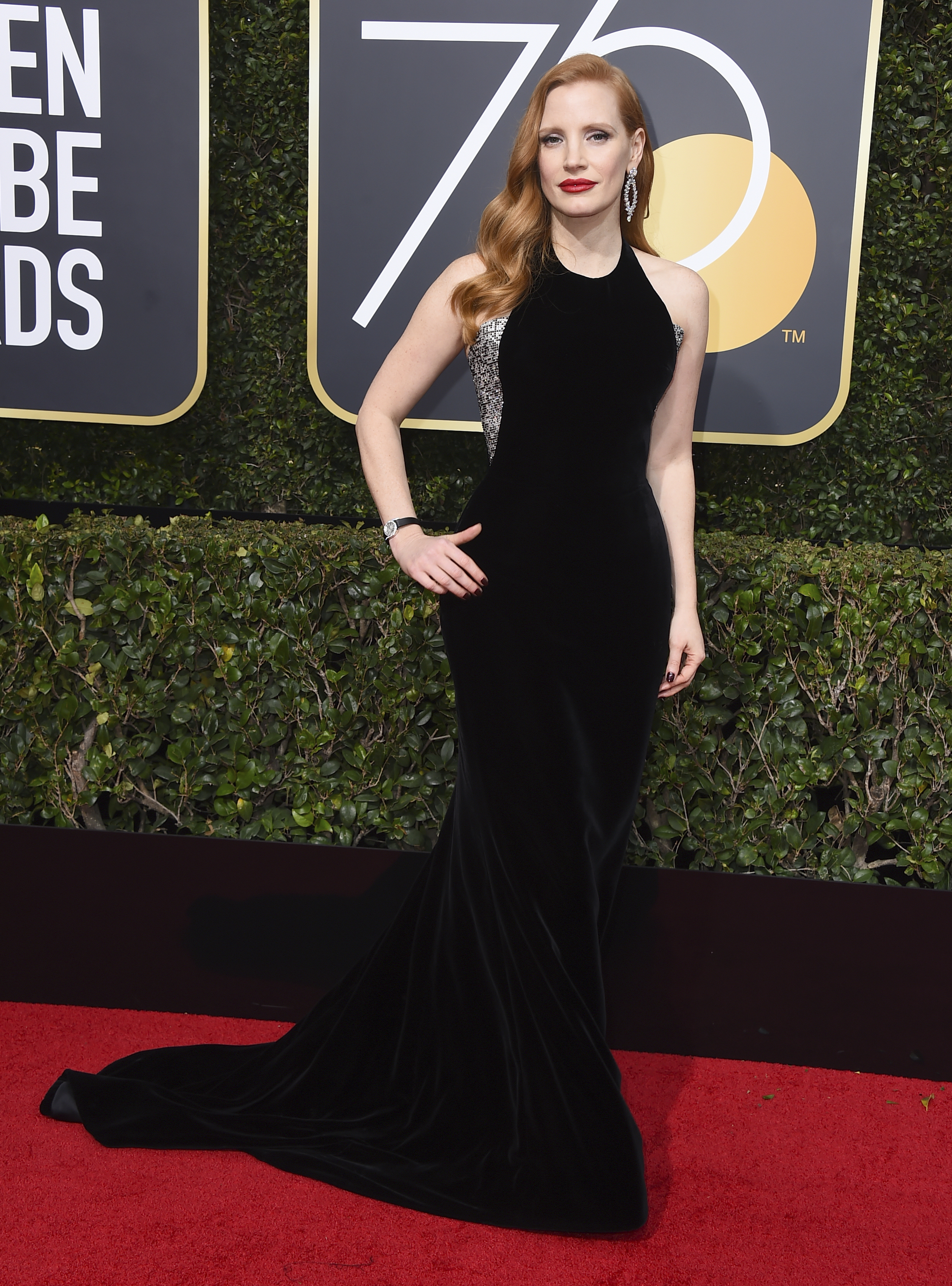 <div class='meta'><div class='origin-logo' data-origin='AP'></div><span class='caption-text' data-credit='Jordan Strauss/Invision/AP'>Jessica Chastain arrives at the 75th annual Golden Globe Awards at the Beverly Hilton Hotel on Sunday, Jan. 7, 2018, in Beverly Hills, Calif.</span></div>