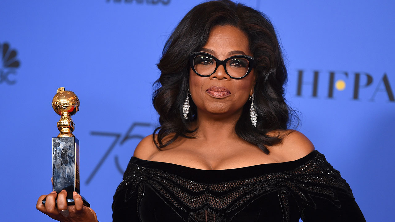 """Oprah Winfrey was honored with a lifetime achievement award at the Golden Globes and told the audience """"speaking your truth is the most powerful tool you all have."""""""