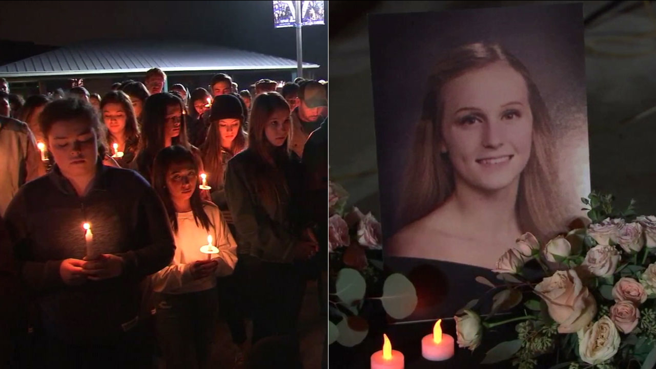 Friends gathered at a candlelight vigil to honor the memory of Drew Birnkrant, who along with her brother and mother, was killed by her father in Santa Clarita.