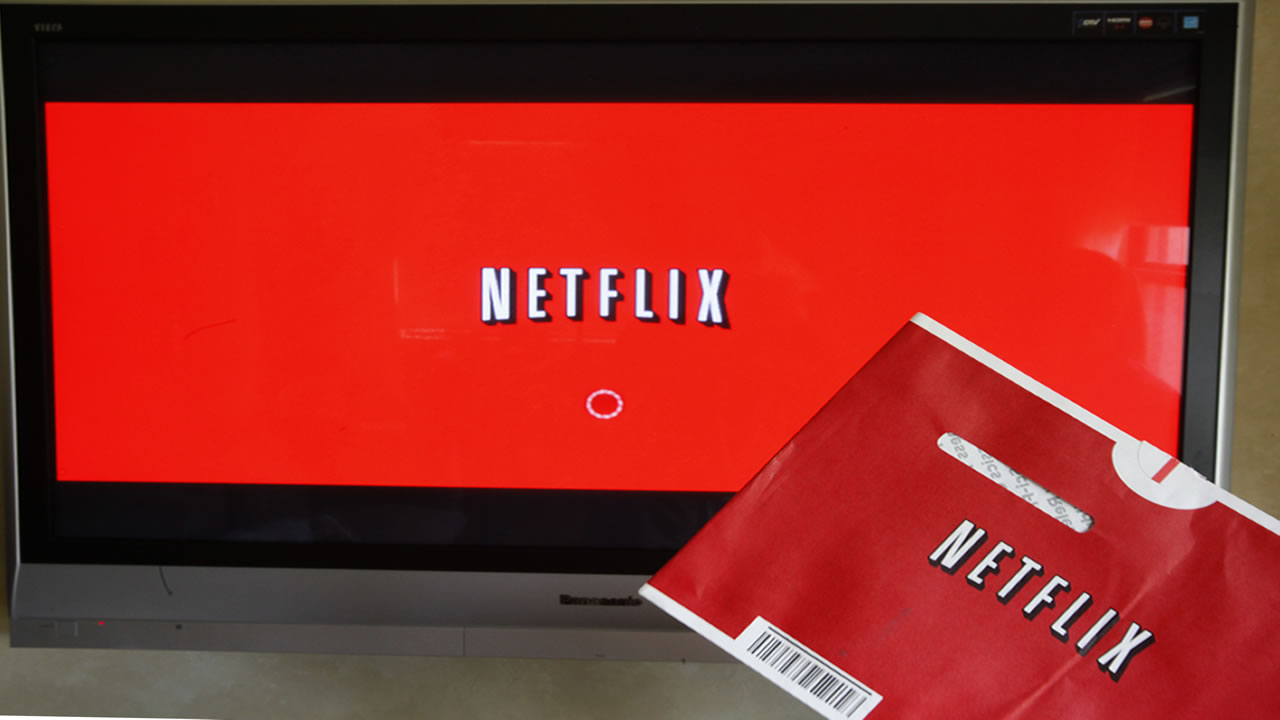 A Netflix DVD envelope and Netflix on-screen television menu are shown.