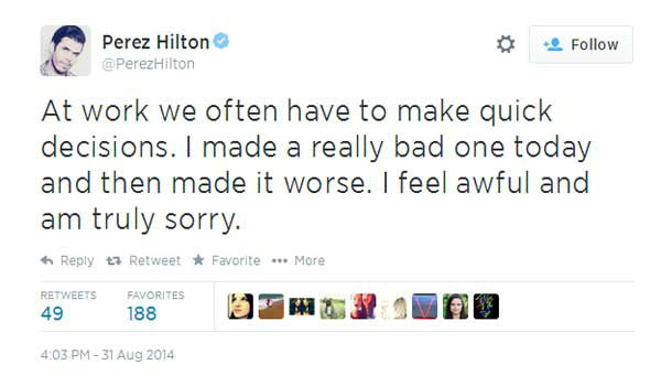 "<div class=""meta image-caption""><div class=""origin-logo origin-image ""><span></span></div><span class=""caption-text"">Meanwhile, celebrity blogger Perez Hilton apologized for posting the photos on his website, taking them down quickly. (Twitter, Perez Hilton)</span></div>"