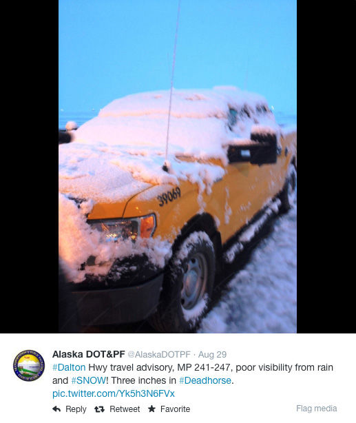 "<div class=""meta image-caption""><div class=""origin-logo origin-image ""><span></span></div><span class=""caption-text"">Alaska saw heavy snowfall in various regions over Labor Day weekend. (AlastkaDOTPF / Twitter)</span></div>"