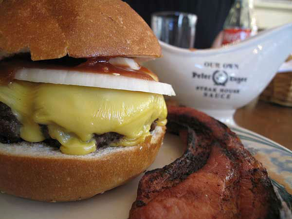 "<div class=""meta image-caption""><div class=""origin-logo origin-image ""><span></span></div><span class=""caption-text"">New York City: Luger-Burger with bacon and cheese from Peter Luger (Photo/Flickr, Monica Muller)</span></div>"