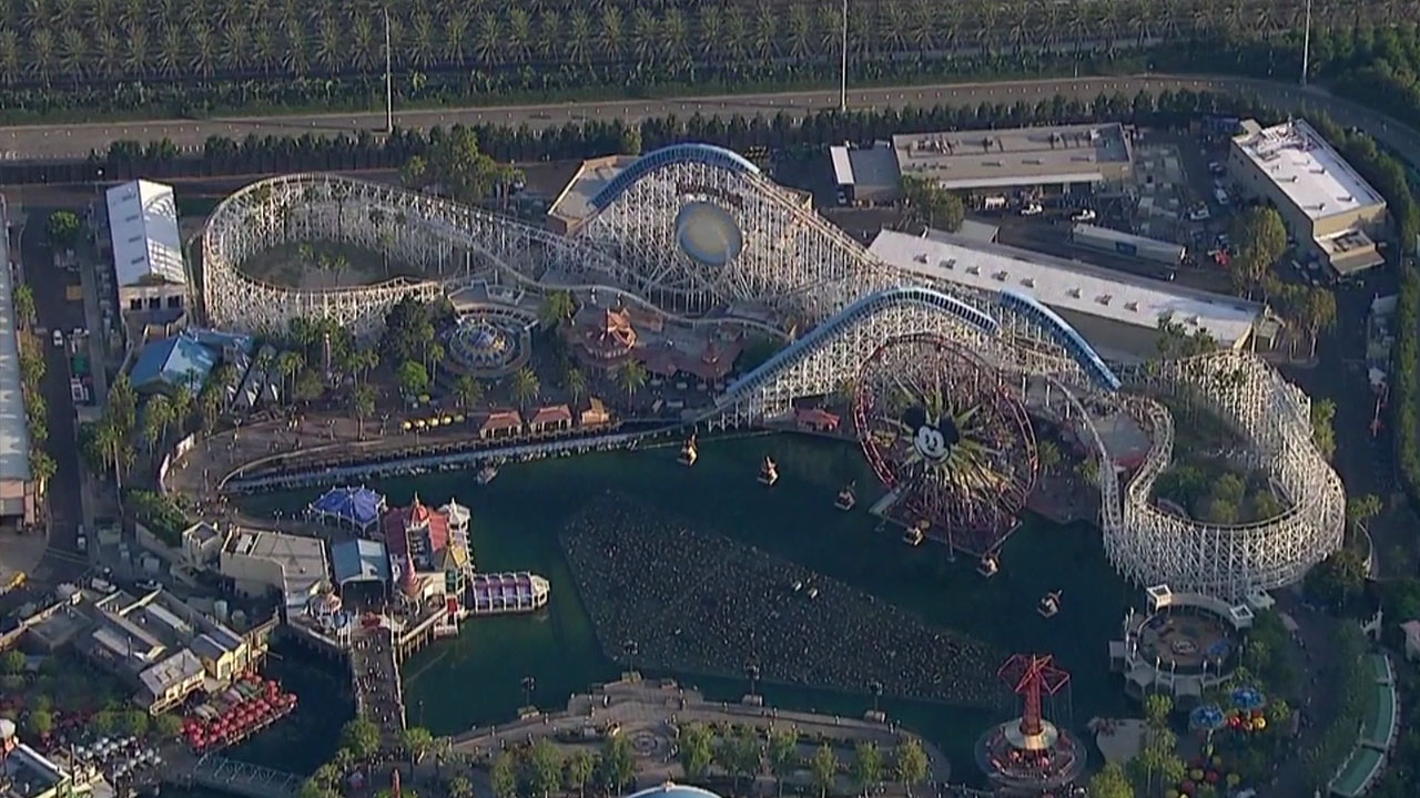 California Screamin' and the rest of Paradise Pier is shown in aerial footage captured by AIR7 HD.