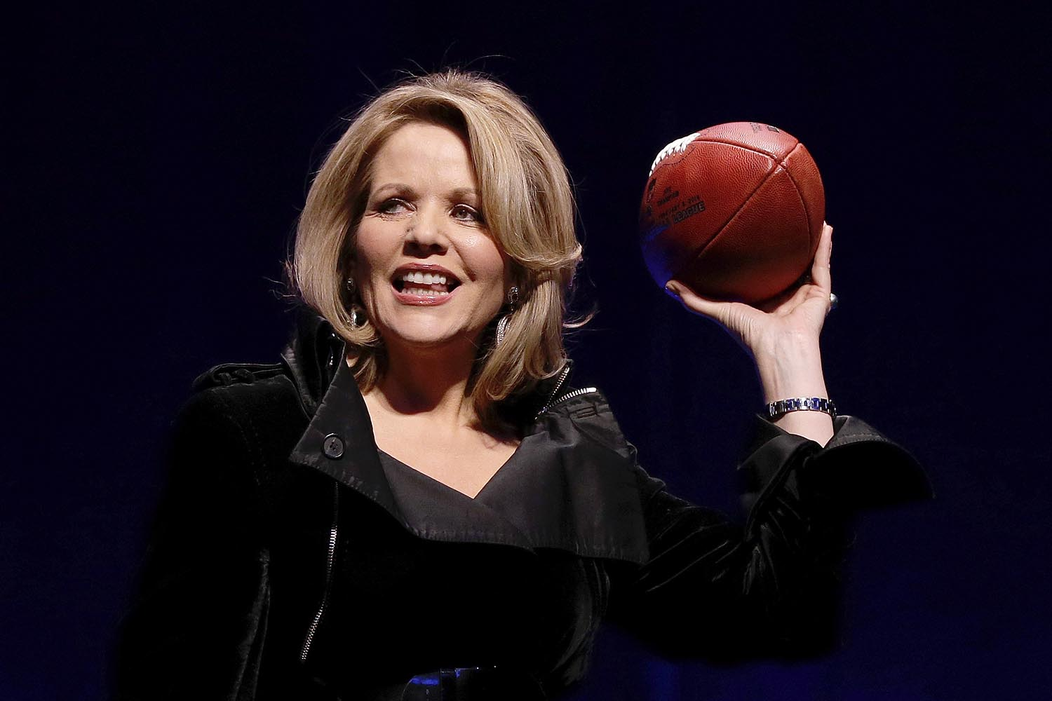 <div class='meta'><div class='origin-logo' data-origin='AP'></div><span class='caption-text' data-credit='AP Photo'>2014: Opera singer Renee Fleming who will sing the National Anthem before the NFL Super Bowl XLVIII football game holds the game ball during a press conference in New York.</span></div>