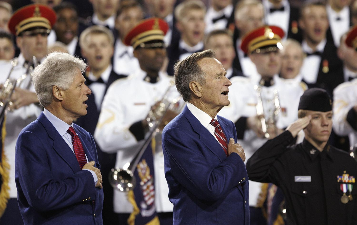 """<div class=""""meta image-caption""""><div class=""""origin-logo origin-image ap""""><span>AP</span></div><span class=""""caption-text"""">2005: The US Military Academy choirs perform the national anthem before Super Bowl XXXIX between the New England Patriots and Philadelphia Eagles at Alltel Stadium. (AP Photo/David J. Phillip)</span></div>"""