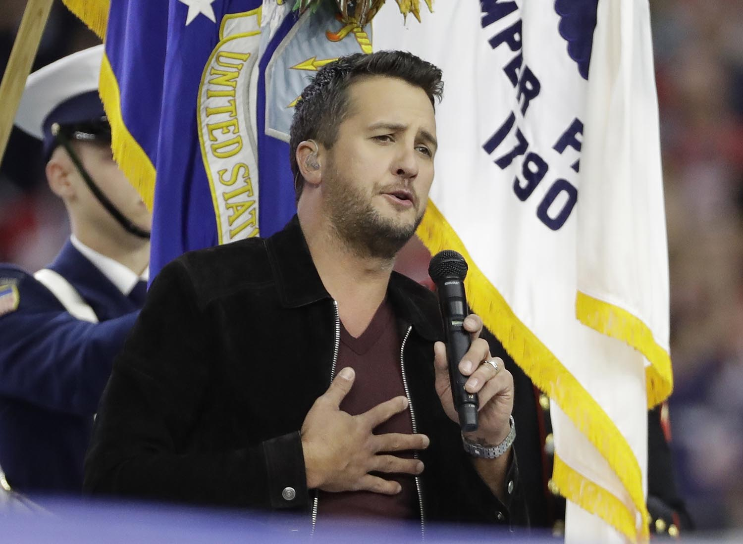 <div class='meta'><div class='origin-logo' data-origin='AP'></div><span class='caption-text' data-credit='AP Photo/David J. Phillip'>2017: Singer Luke Bryan sings the national anthem before the NFL Super Bowl 51 football game between the Atlanta Falcons and the New England Patriots Sunday, Feb. 5, 2017.</span></div>