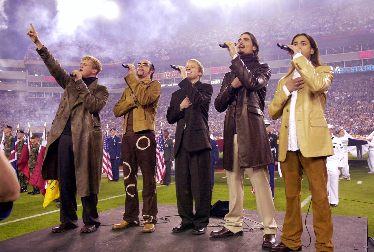 <div class='meta'><div class='origin-logo' data-origin='AP'></div><span class='caption-text' data-credit='AP Photo/Dave Martin'>2001: The Backstreet Boys sing the national anthem before Super Bowl XXXV on Sunday, Jan. 28, 2001, in Tampa, Fla.</span></div>