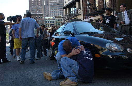 <div class='meta'><div class='origin-logo' data-origin='none'></div><span class='caption-text' data-credit='AP Photo/ Louis Lanzano'>Two men hug in downtown Manhattan in response to the collapse of the World Trade Center's twin towers on September 11, 2001 in New York City.</span></div>