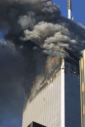 "<div class=""meta image-caption""><div class=""origin-logo origin-image ""><span></span></div><span class=""caption-text"">The north tower of the World Trade Center in flames on September 11, 2001 in New York City. (Photo/Diane Bondareff)</span></div>"