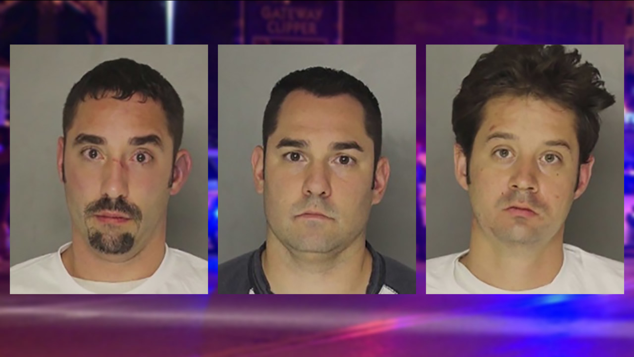 Mark Williams, left, David Williams, center, and Brian Taylor, right, were arrested following a bloody brawl outside a wedding reception in Pittsburgh.