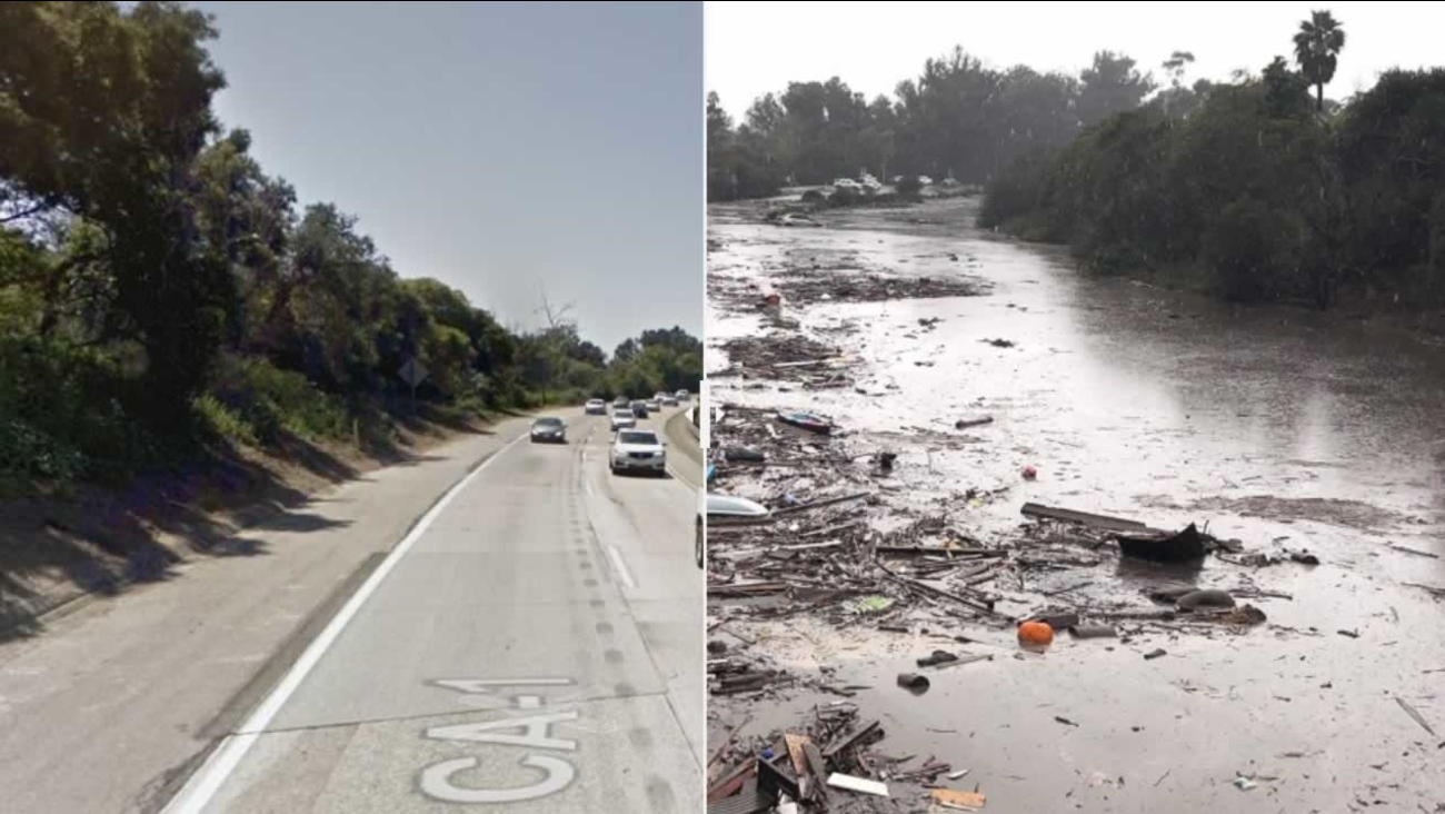 This before and after photo shows a section of Highway 101 washed out following a winter storm in Southern California.