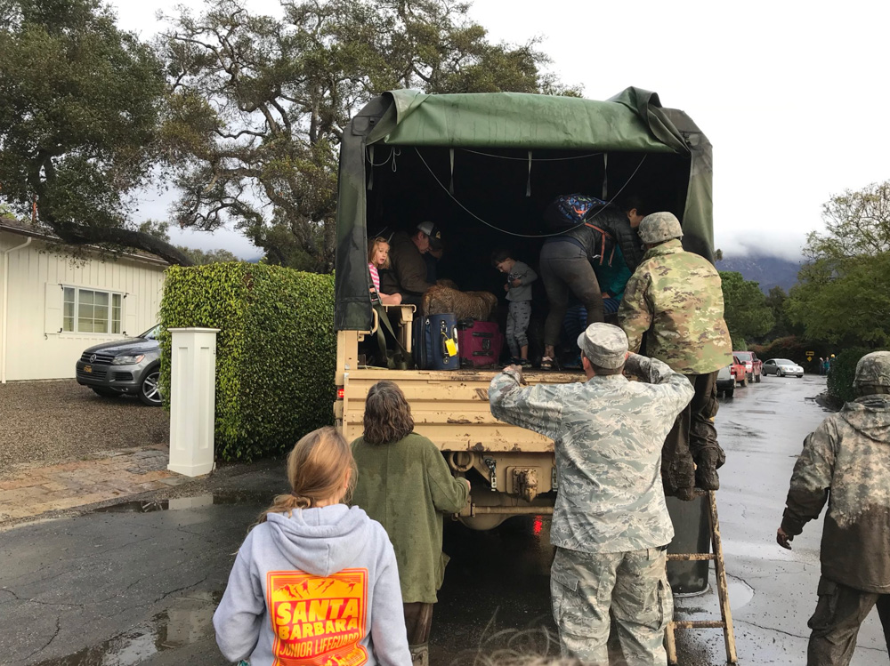 <div class='meta'><div class='origin-logo' data-origin='none'></div><span class='caption-text' data-credit='Benjamin Hyatt/Twitter'>Heavy rainfall in areas affected by the Thomas Fire have caused flooding and mudflows in Montecito.</span></div>