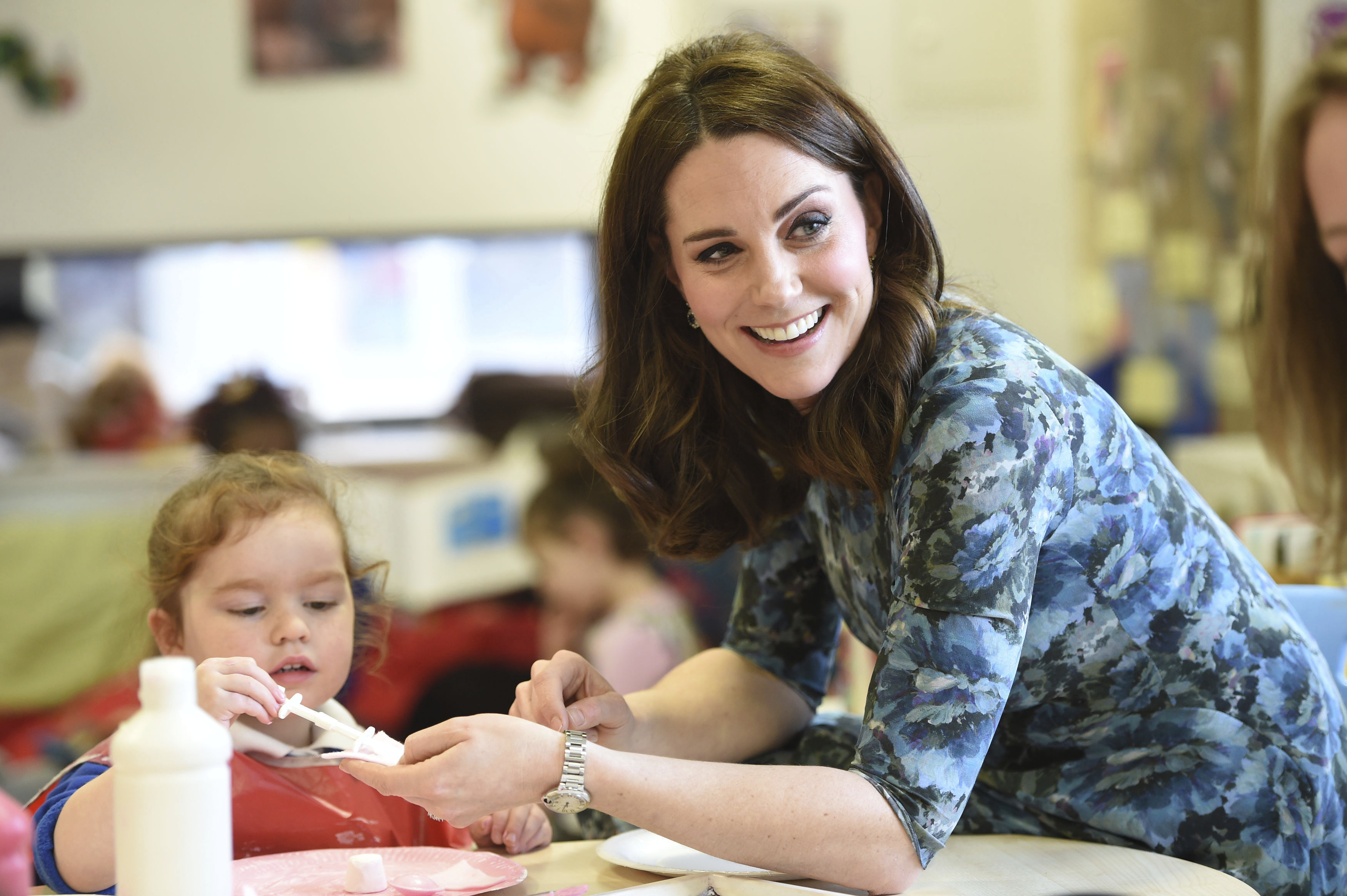 "<div class=""meta image-caption""><div class=""origin-logo origin-image ap""><span>AP</span></div><span class=""caption-text"">Kate, Duchess of Cambridge smiles as she interacts with children Wednesday Jan. 10, 2018 during a visit to the Reach Academy Feltham, in London. (Eddie Mulholland/Pool Photo via AP)</span></div>"