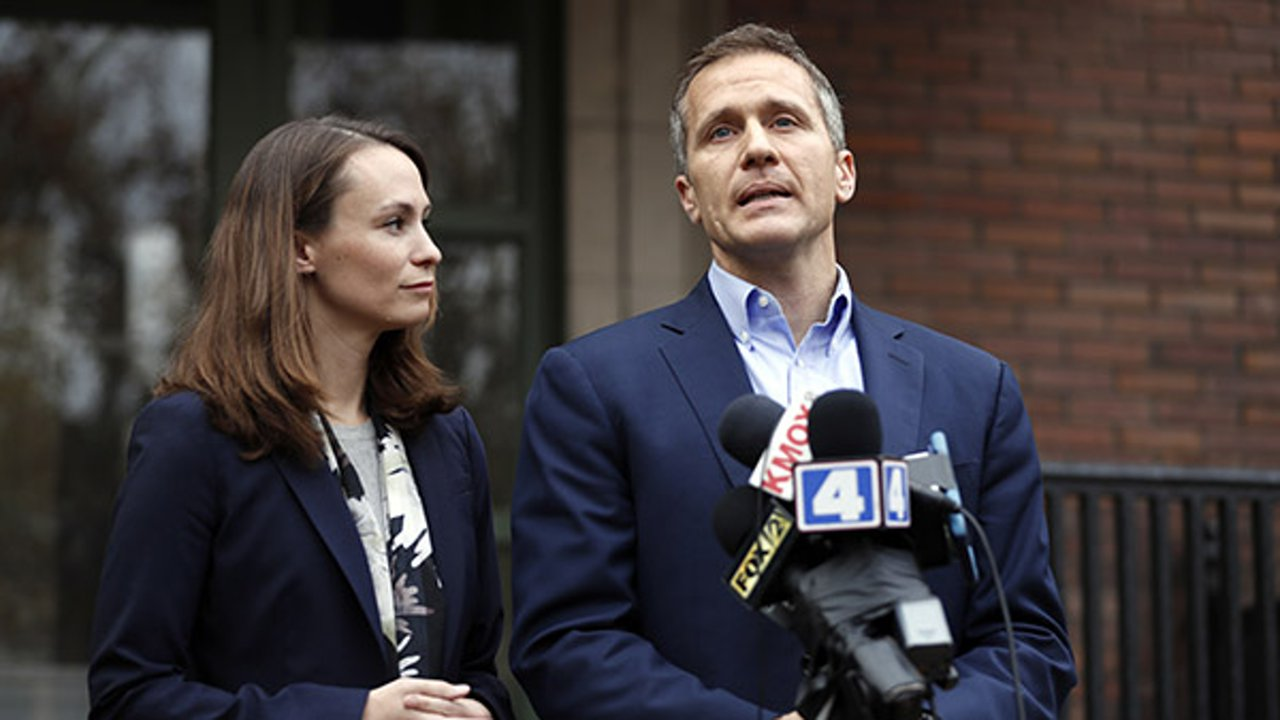 Then Missouri Gov.-elect Eric Greitens and his wife Sheena speak to the media Tuesday, Dec. 6, 2016, in St. Louis.