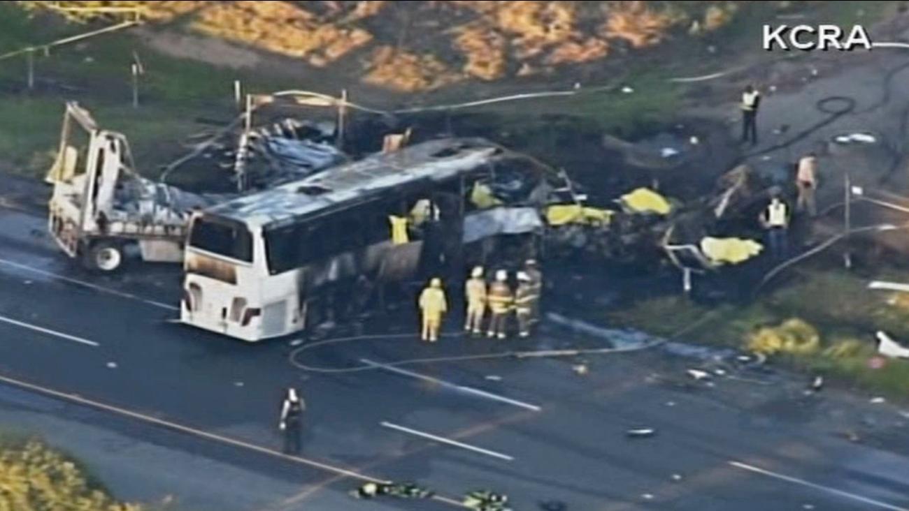 9 killed in tour bus crash in Northern California | abc7 com
