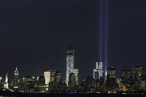 "<div class=""meta image-caption""><div class=""origin-logo origin-image none""><span>none</span></div><span class=""caption-text"">The Tribute in Light rises above the lower Manhattan skyline and One World Trade Center, center, in a test of the memorial light display, Monday, Sept. 9, 2013 in New York. (AP Photo/ Mark Lennihan)</span></div>"