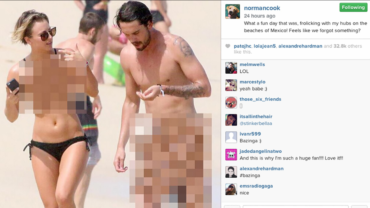 "Actress Kayle Cuoco is poking fun at this week's nude photo leak by posting her own ""topless"" photo to Instagram."