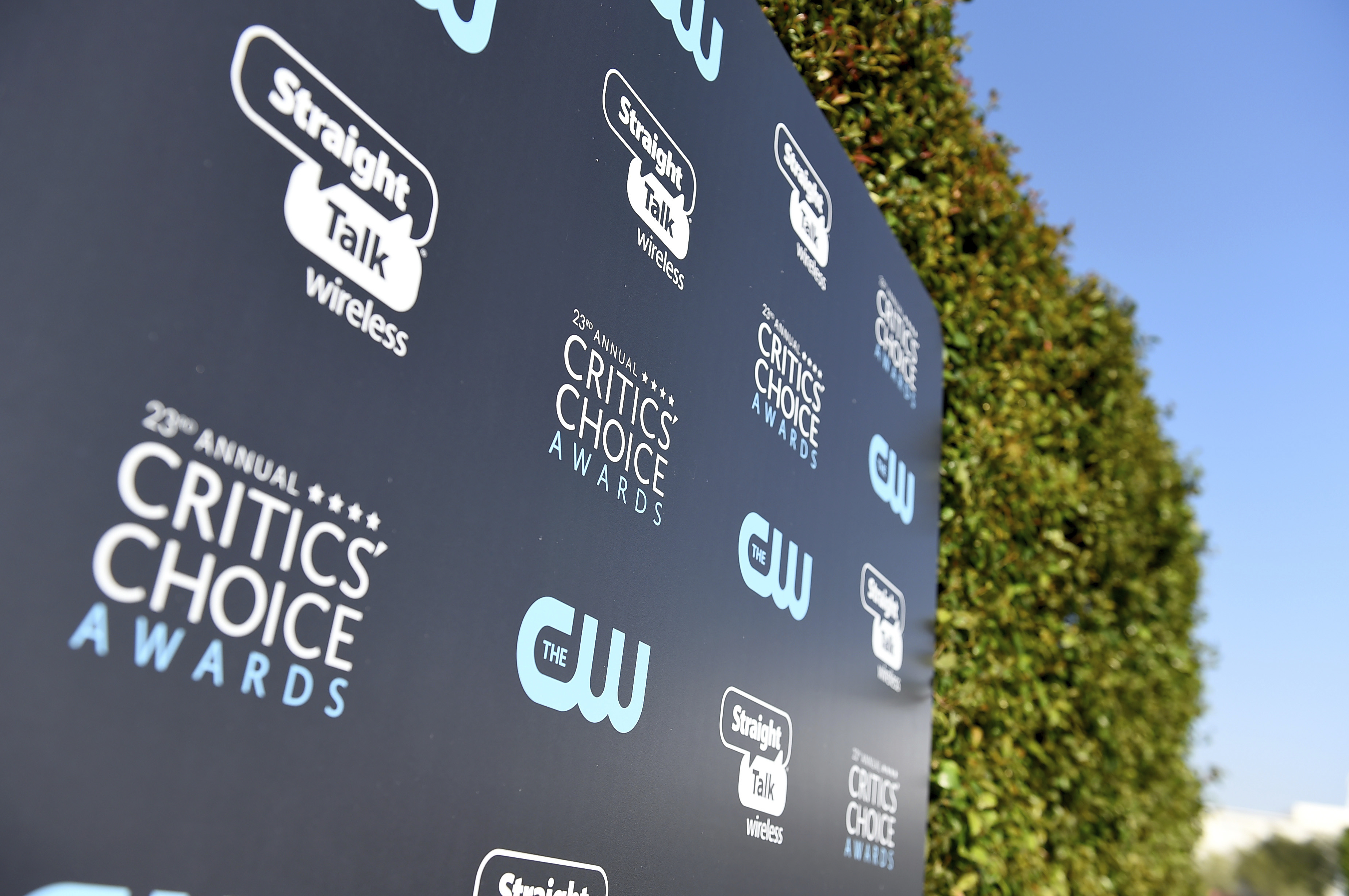 <div class='meta'><div class='origin-logo' data-origin='AP'></div><span class='caption-text' data-credit='Jordan Strauss/Invision/AP'>Signage appears outside the Barker Hangar for the 23rd annual Critics' Choice Awards on Thursday, Jan. 11, 2018, in Santa Monica, Calif.</span></div>