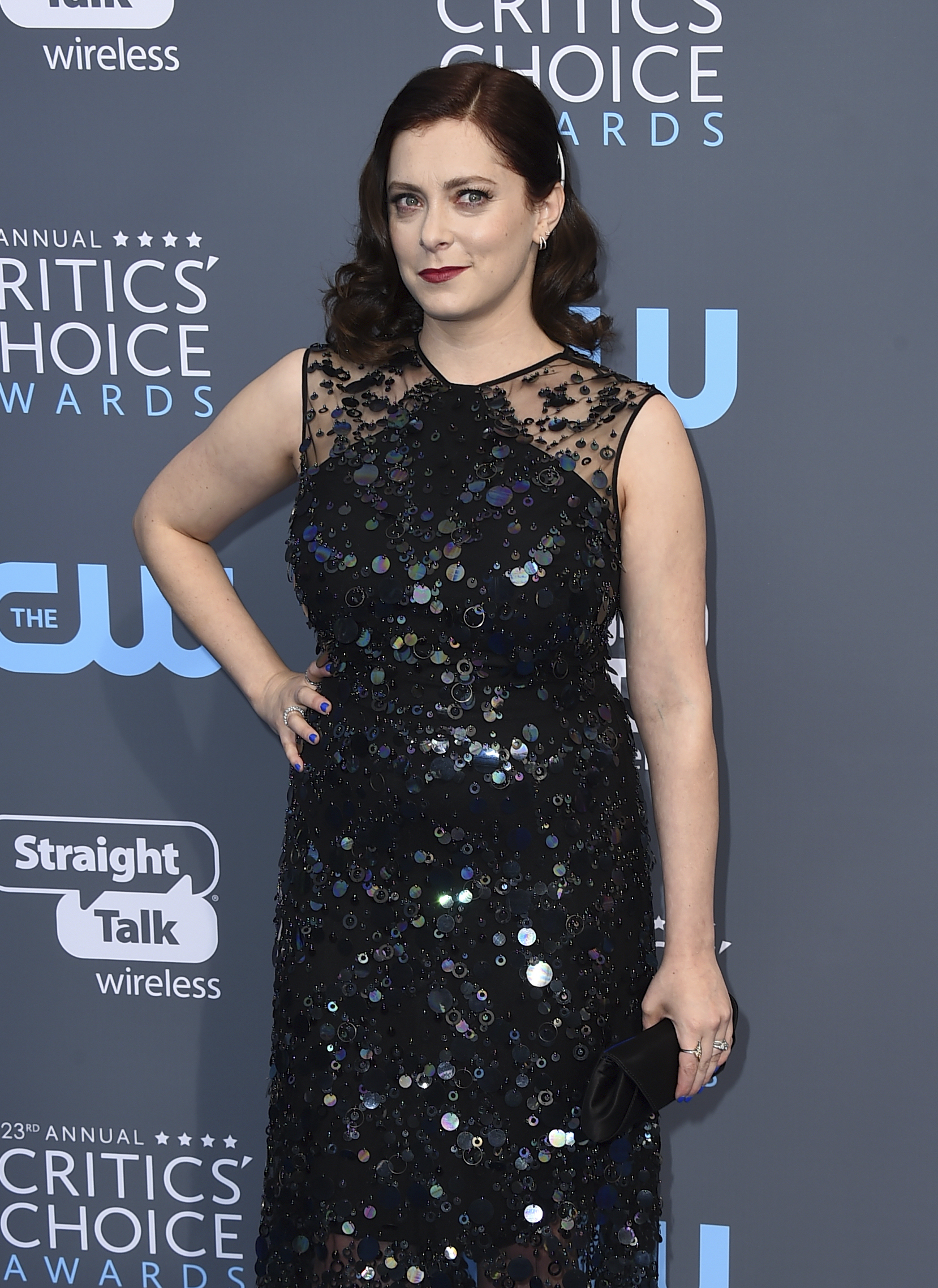 <div class='meta'><div class='origin-logo' data-origin='AP'></div><span class='caption-text' data-credit='Jordan Strauss/Invision/AP'>Rachel Bloom arrives at the 23rd annual Critics' Choice Awards at the Barker Hangar on Thursday, Jan. 11, 2018, in Santa Monica, Calif.</span></div>