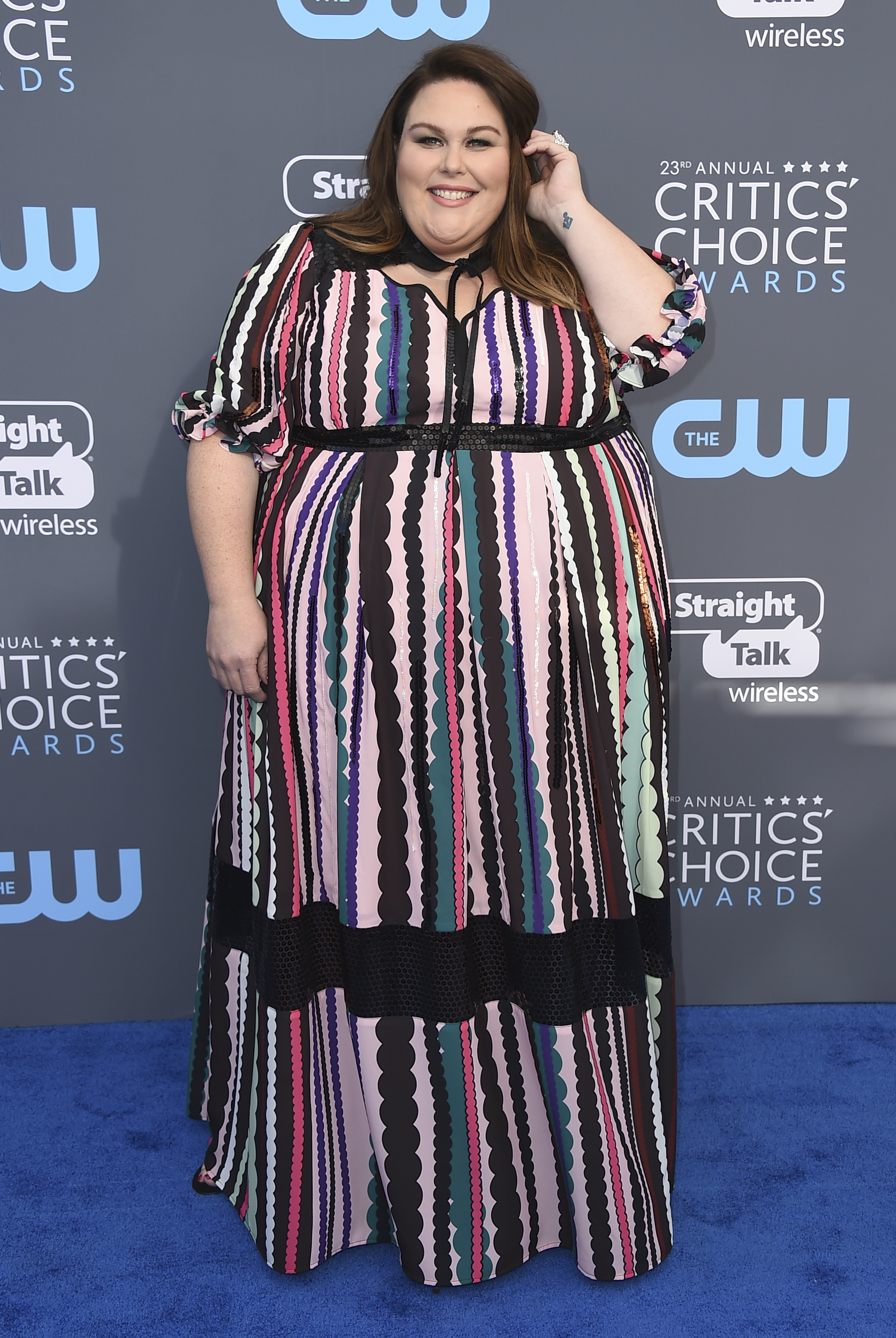 <div class='meta'><div class='origin-logo' data-origin='AP'></div><span class='caption-text' data-credit='Jordan Strauss/Invision/AP'>Chrissy Metz arrives at the 23rd annual Critics' Choice Awards at the Barker Hangar on Thursday, Jan. 11, 2018, in Santa Monica, Calif.</span></div>