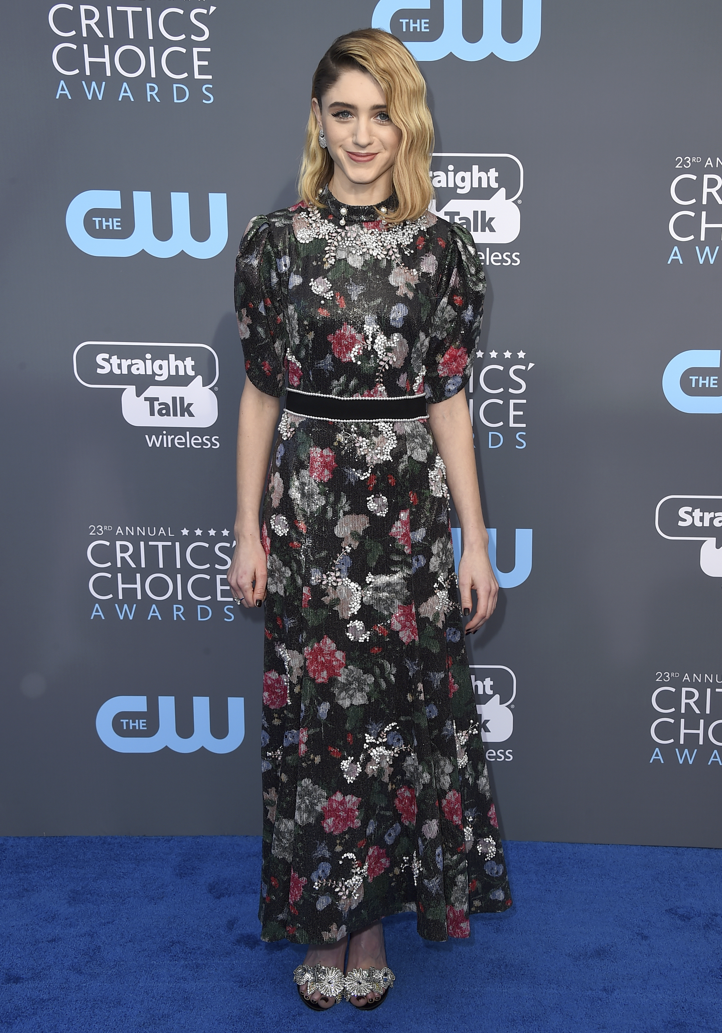 <div class='meta'><div class='origin-logo' data-origin='AP'></div><span class='caption-text' data-credit='Jordan Strauss/Invision/AP'>Natalia Dyer arrives at the 23rd annual Critics' Choice Awards at the Barker Hangar on Thursday, Jan. 11, 2018, in Santa Monica, Calif. (Photo by Jordan Strauss/Invision/AP)</span></div>
