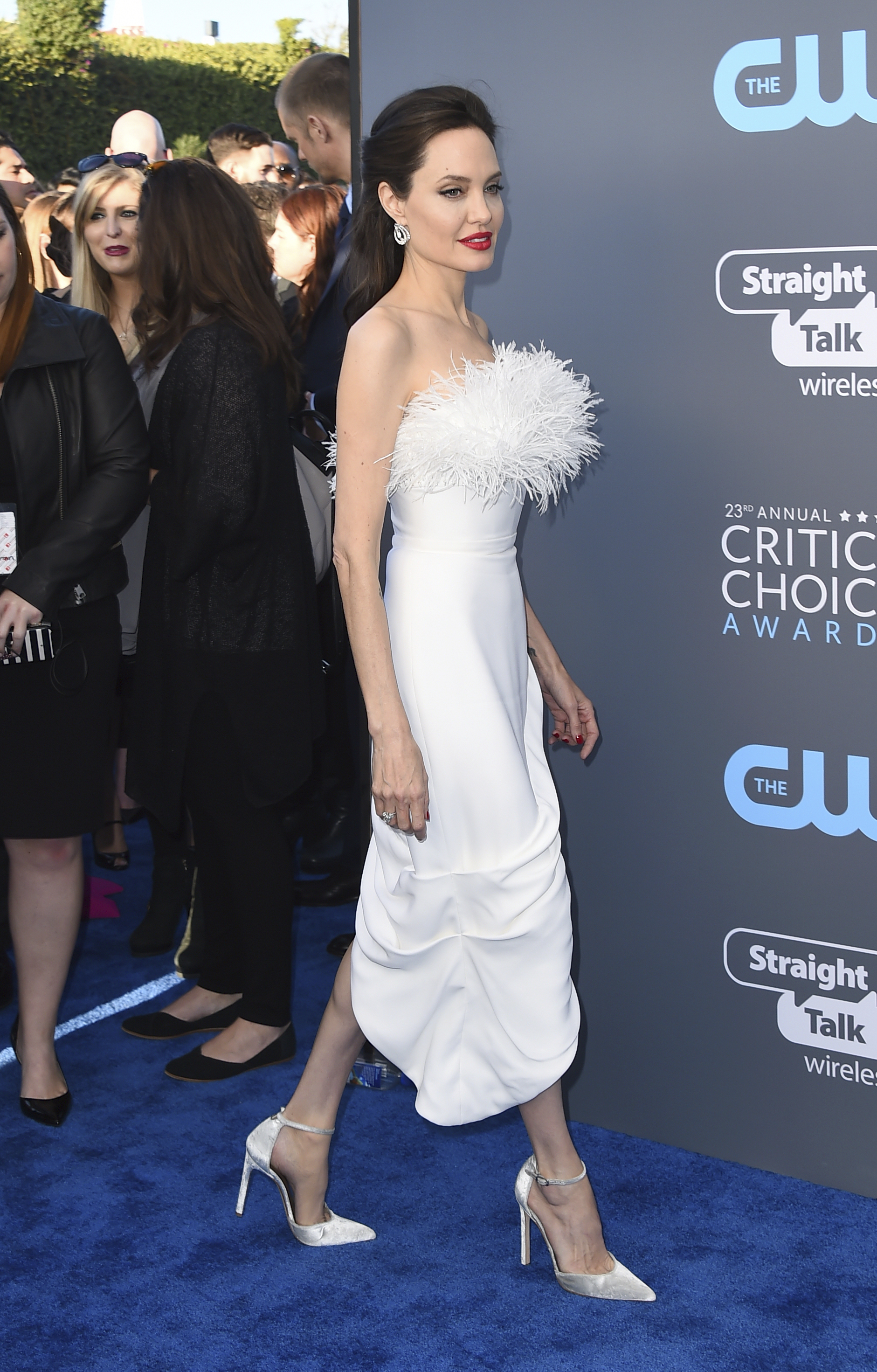 <div class='meta'><div class='origin-logo' data-origin='AP'></div><span class='caption-text' data-credit='Jordan Strauss/Invision/AP'>Angelina Jolie arrives at the 23rd annual Critics' Choice Awards at the Barker Hangar on Thursday, Jan. 11, 2018, in Santa Monica, Calif.</span></div>