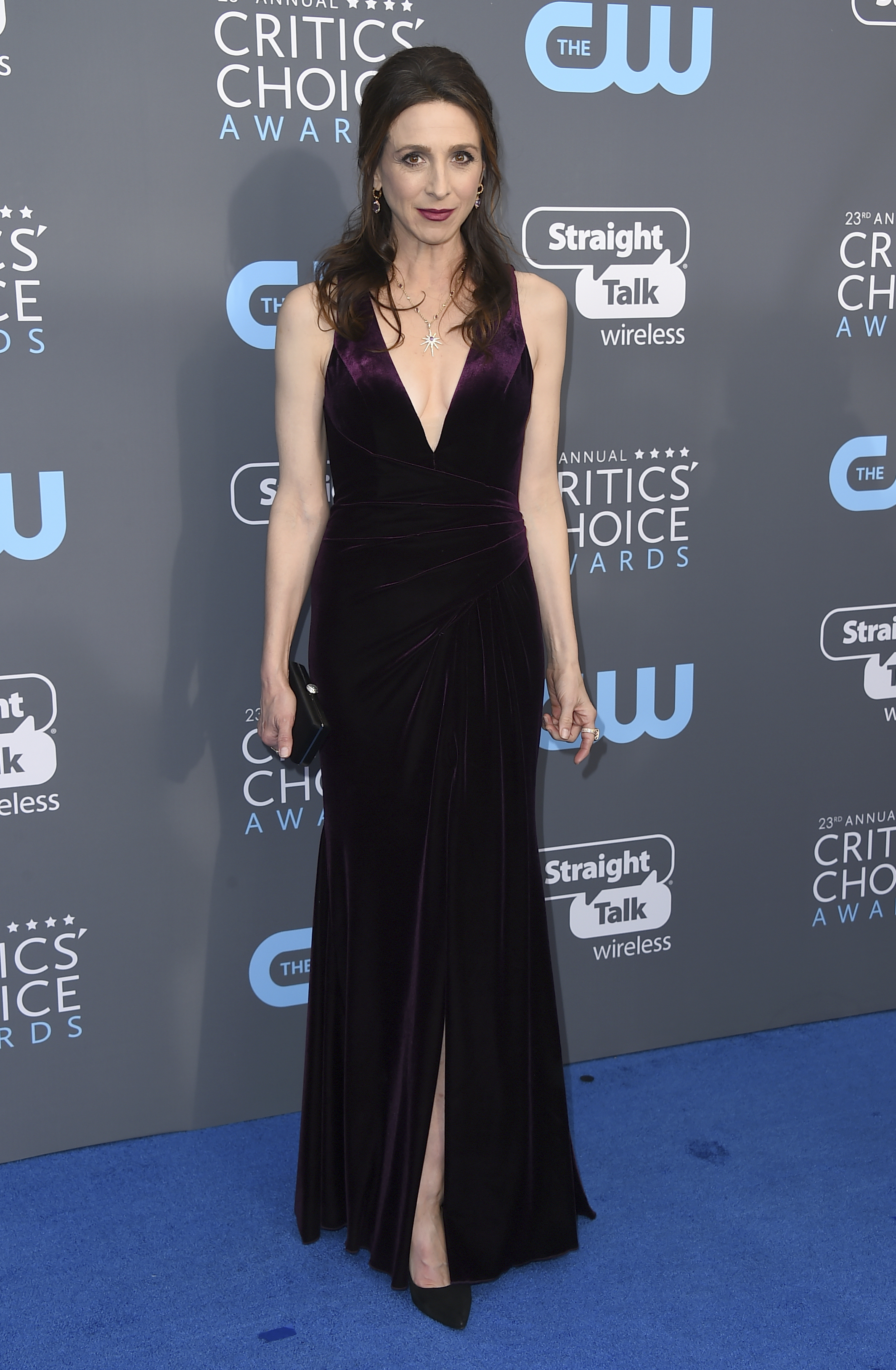 <div class='meta'><div class='origin-logo' data-origin='AP'></div><span class='caption-text' data-credit='Jordan Strauss/Invision/AP'>Marin Hinkle arrives at the 23rd annual Critics' Choice Awards at the Barker Hangar on Thursday, Jan. 11, 2018, in Santa Monica, Calif.</span></div>